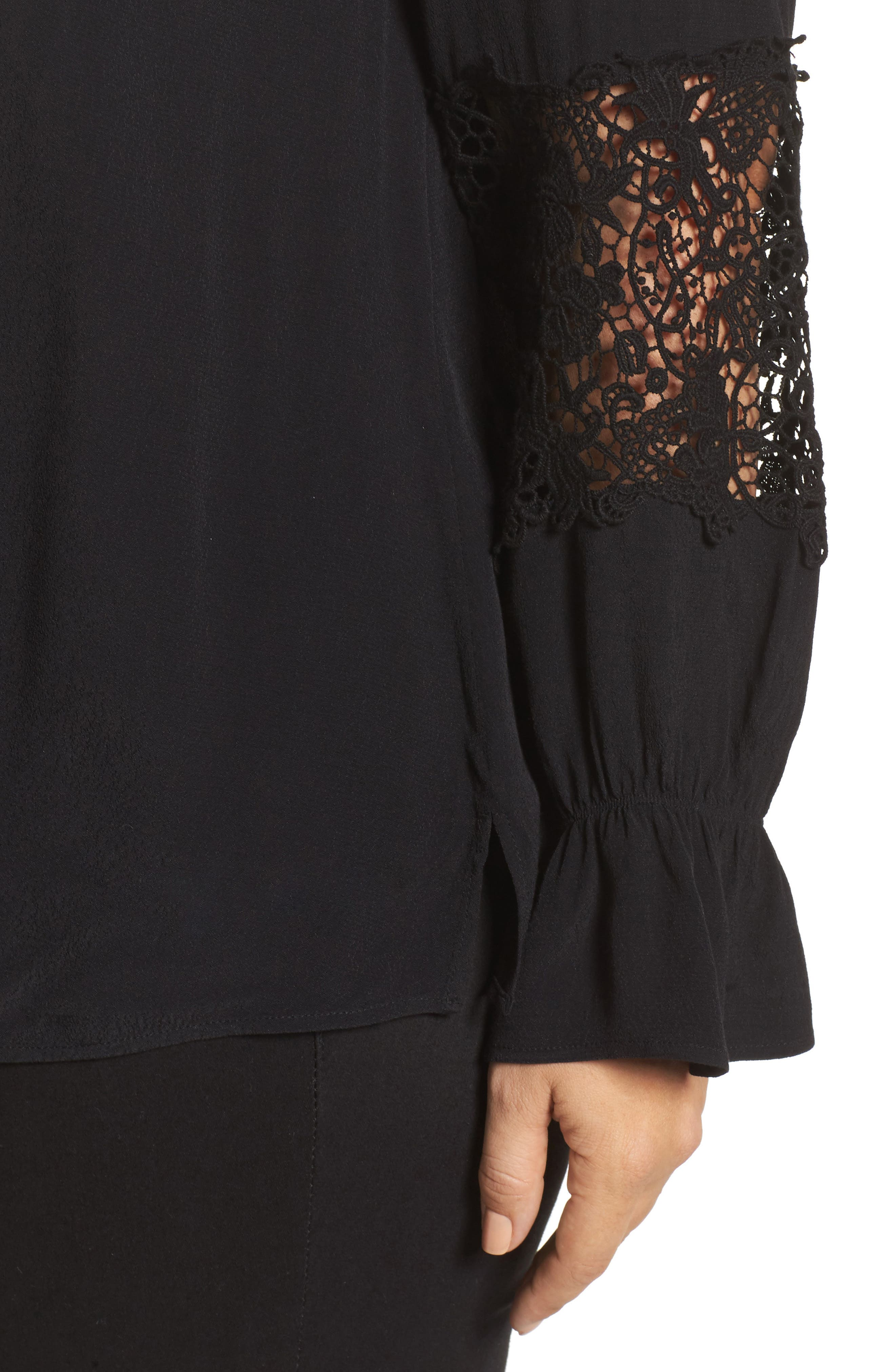 Bell Sleeve Lace Top,                             Alternate thumbnail 4, color,                             002