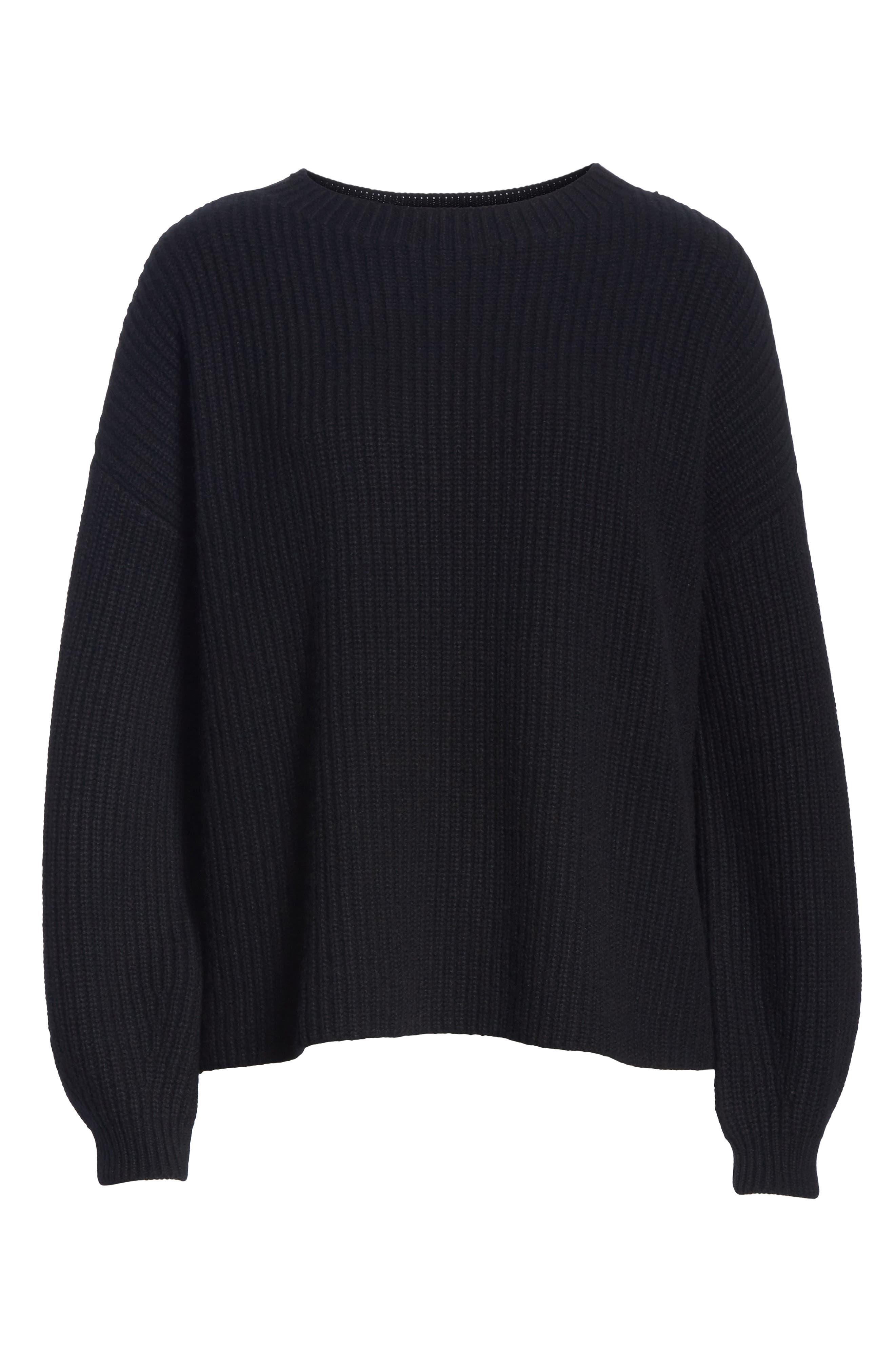 Crewneck Shaker Cashmere Sweater,                             Alternate thumbnail 6, color,                             BLACK