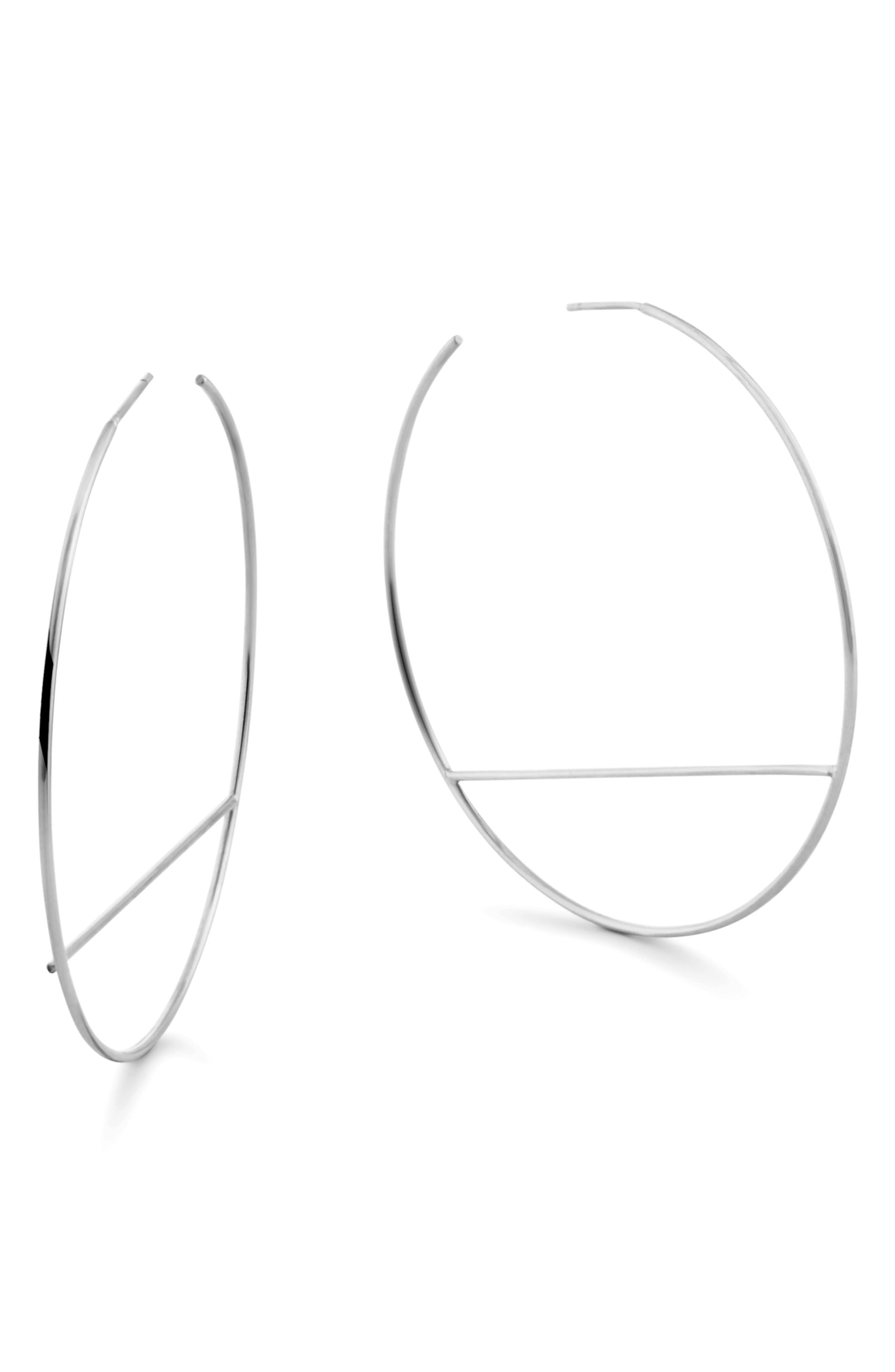LANA JEWELRY Wire Eclipse Hoop Earrings, Main, color, WHITE GOLD
