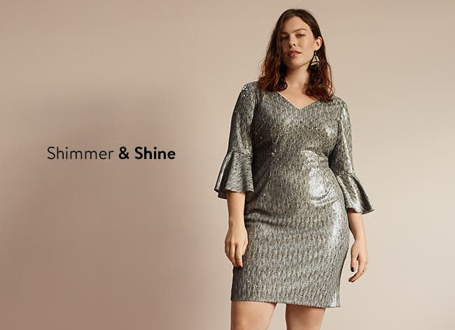 Shimmery dresses in plus sizes.