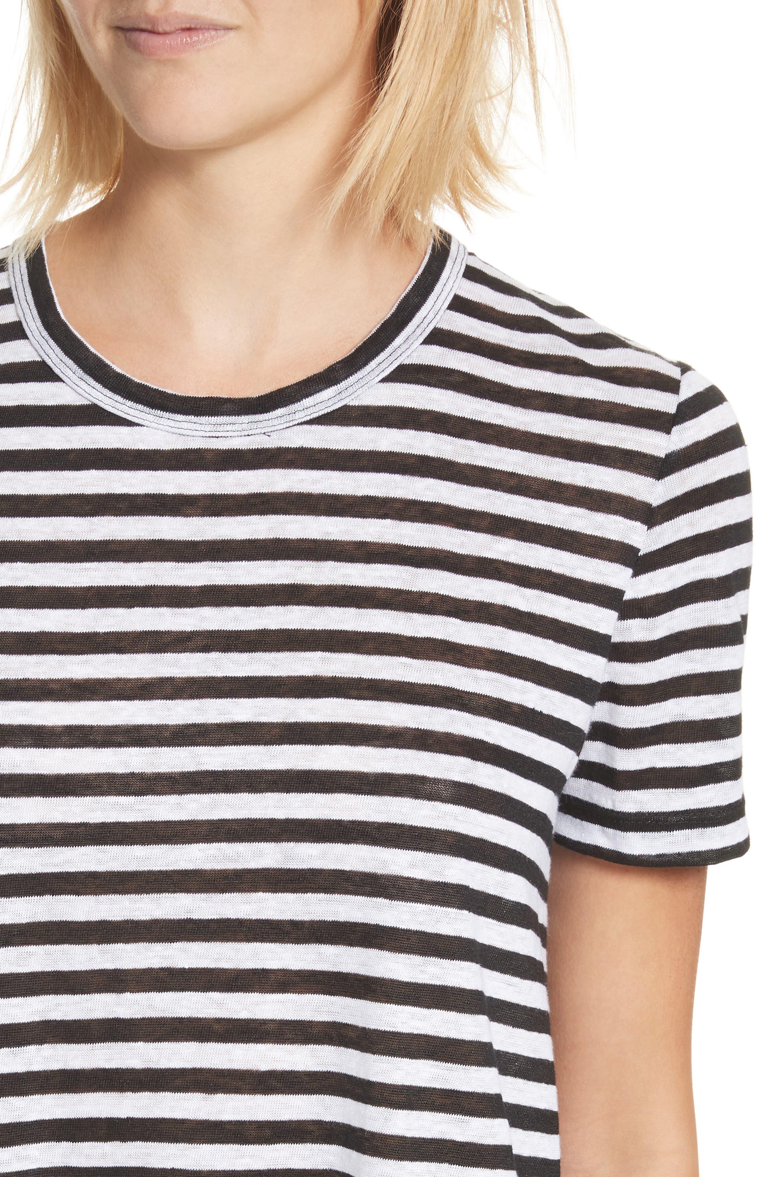 Alber Stripe Linen Tee,                             Alternate thumbnail 4, color,                             002