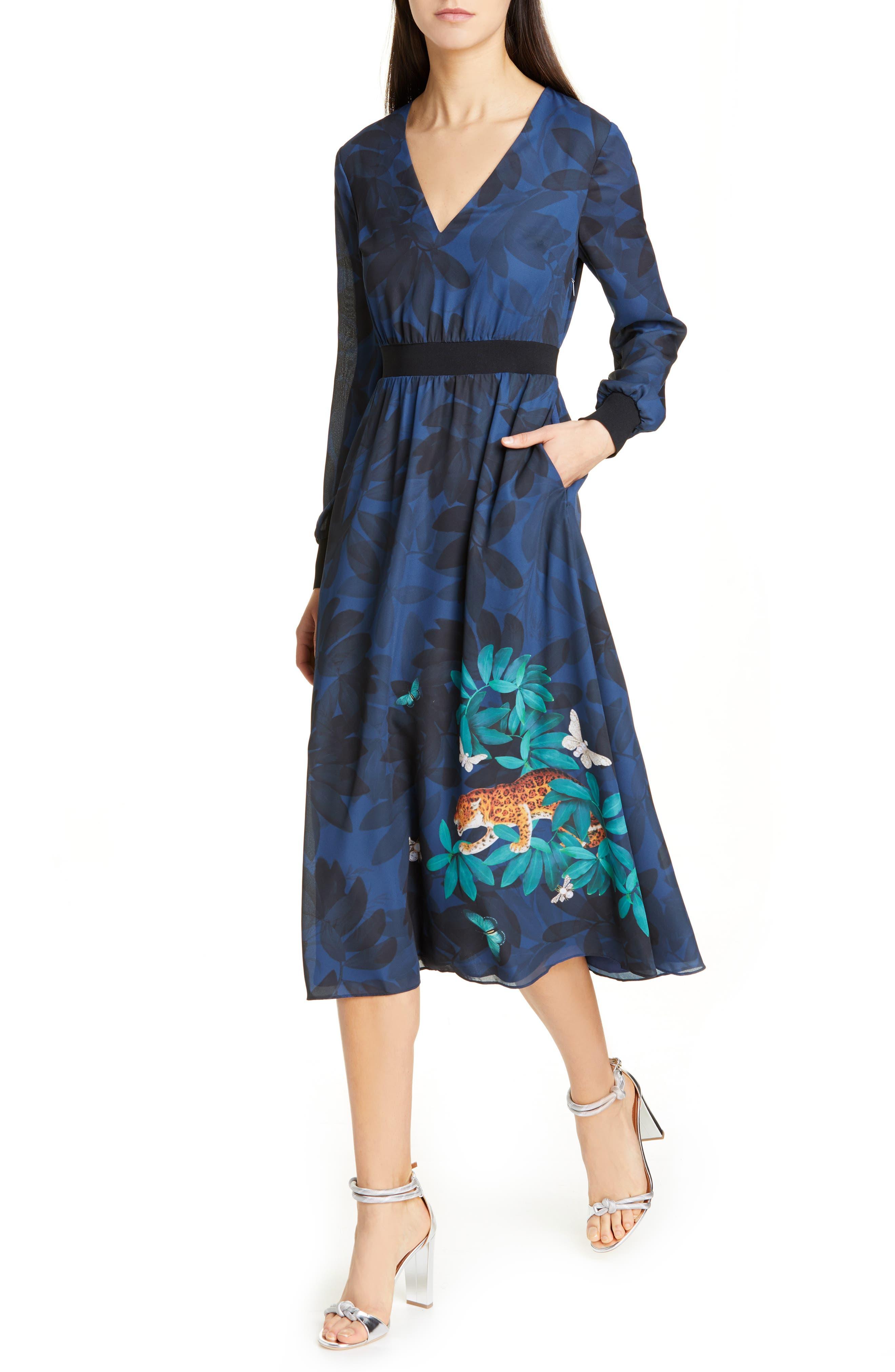 Ted Baker London Emrall Houdini Long Sleeve Dress, Blue