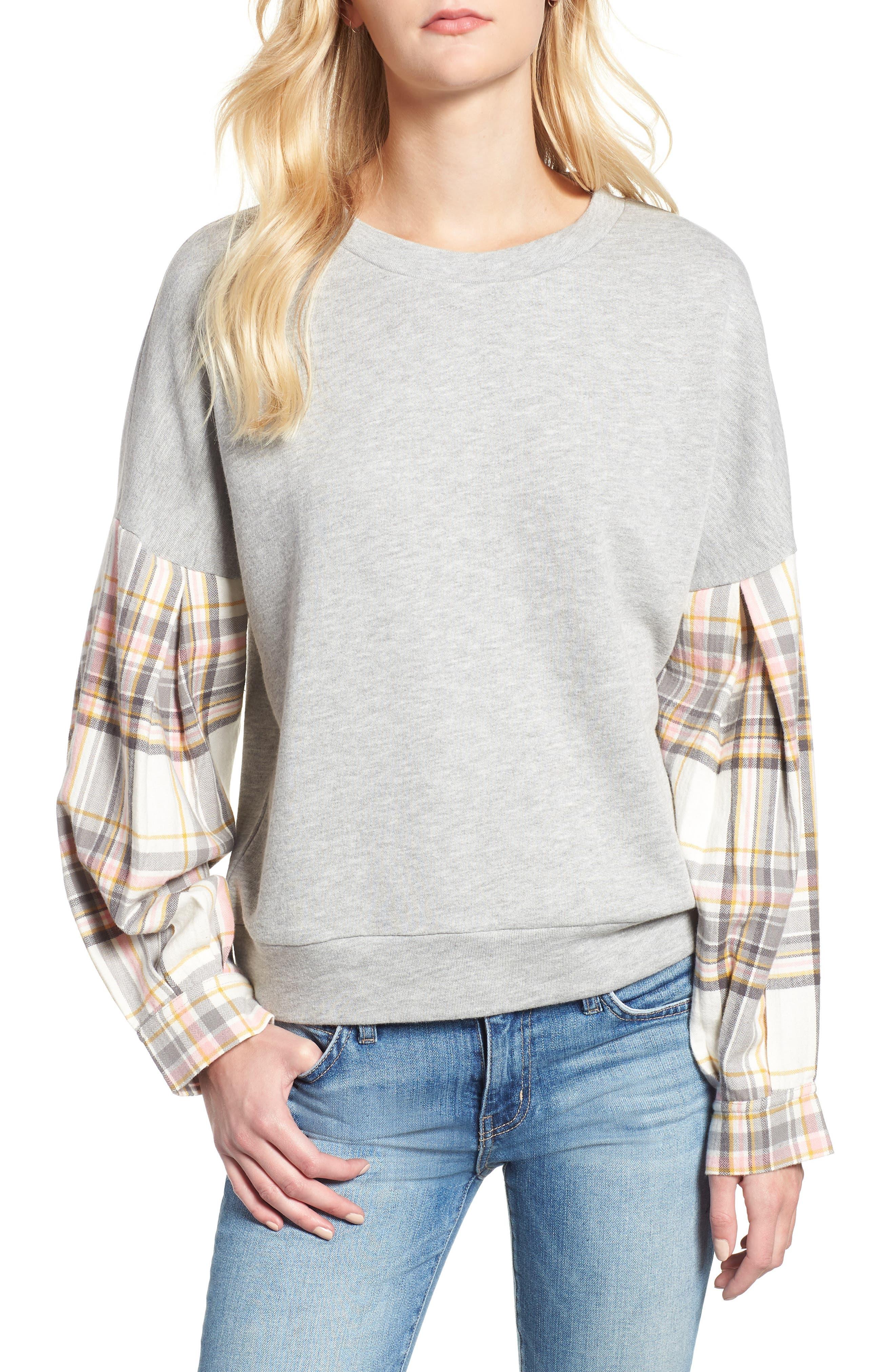 Flannel Sleeve Sweatshirt,                         Main,                         color, 030