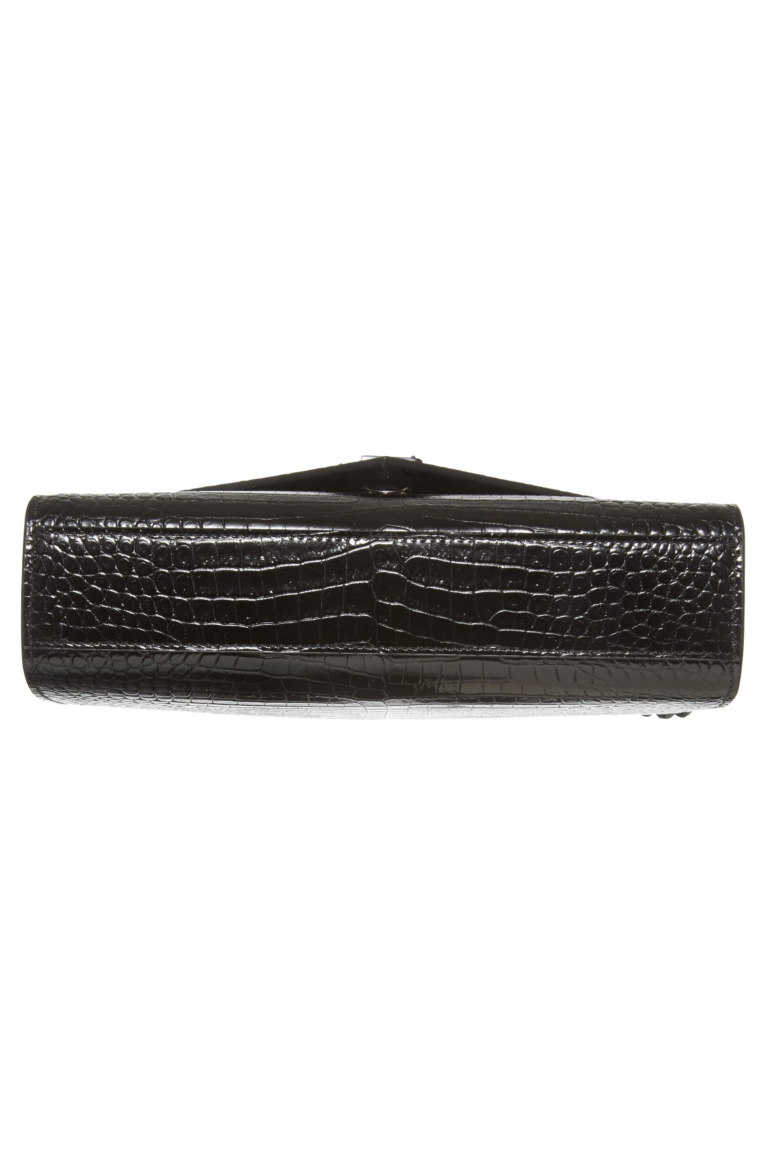 Medium Croc-Embossed Calfskin Shoulder Bag,                             Alternate thumbnail 6, color,                             001