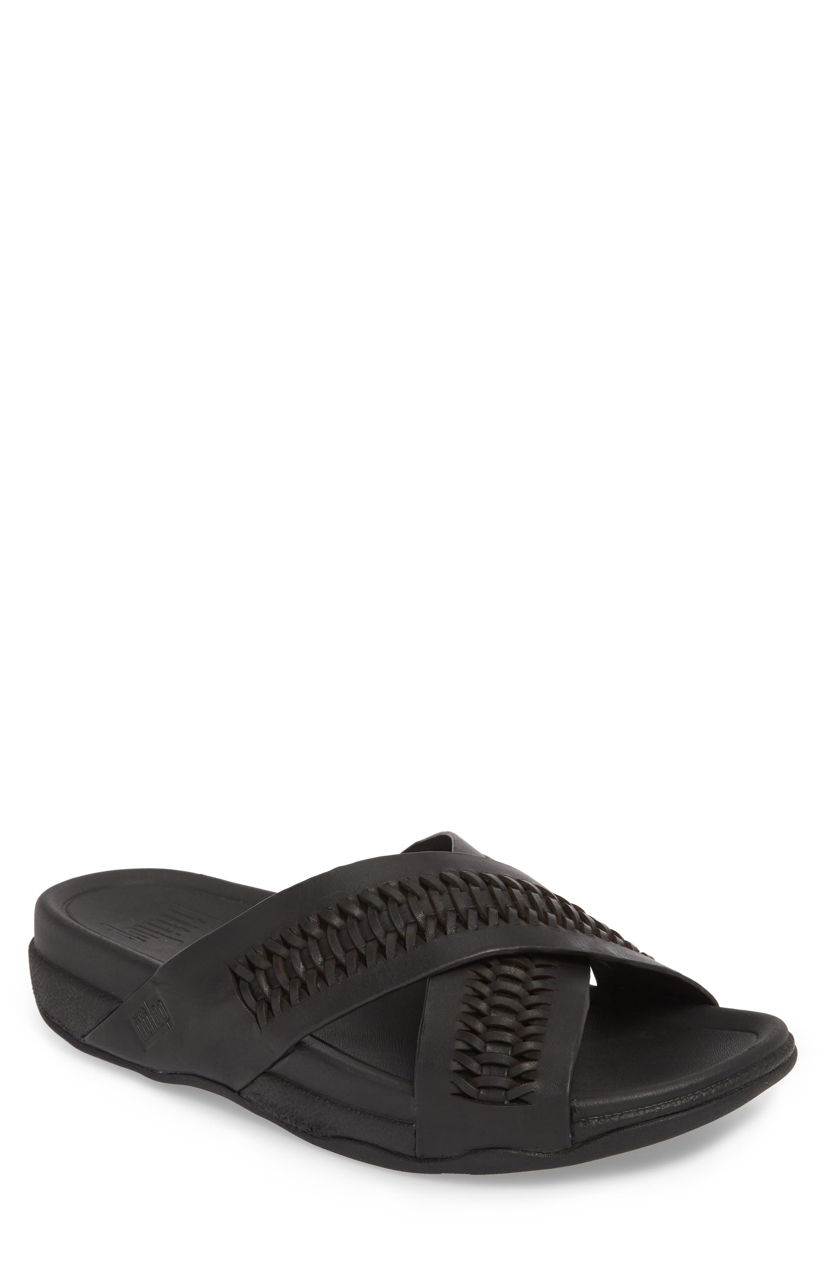 Surfer Slide Sandal,                         Main,                         color, BLACK