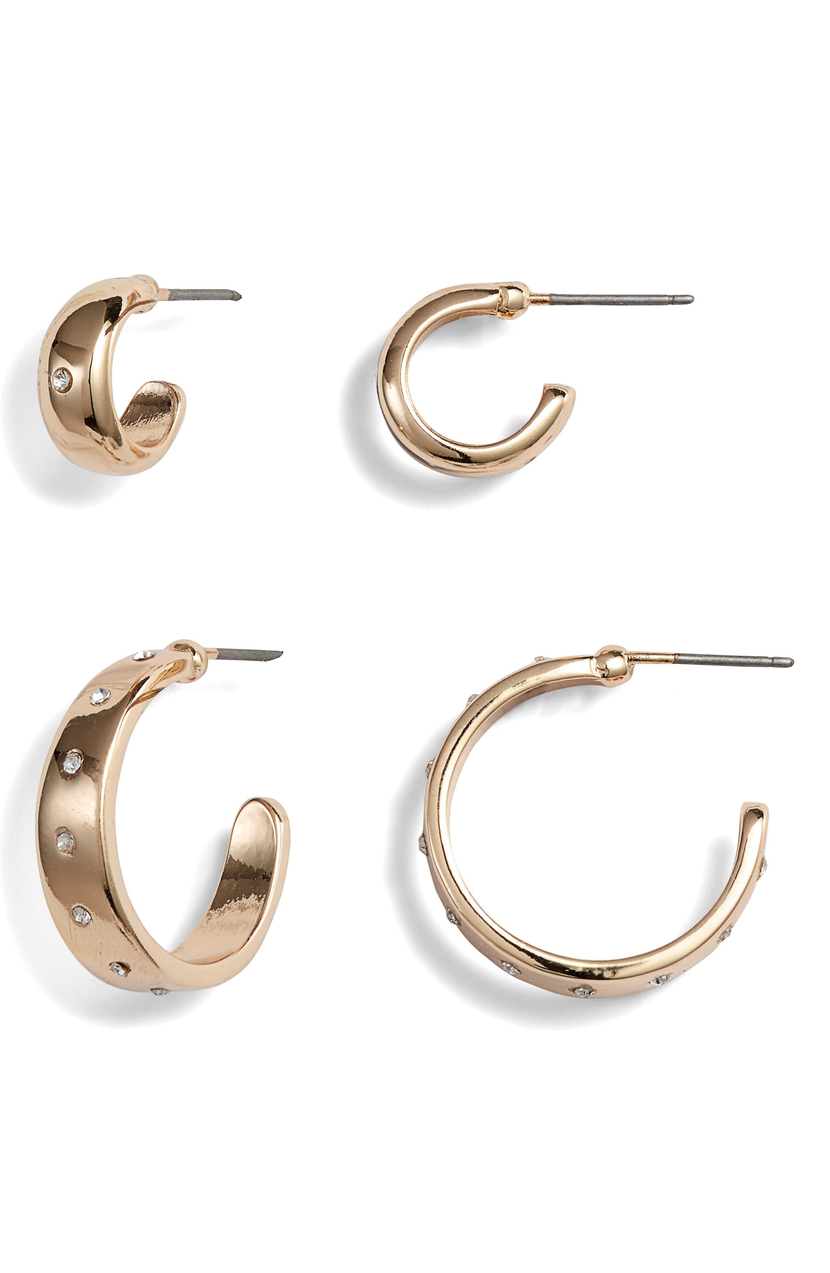 Set of 2 Pavé Hoop Earrings, Main, color, 710