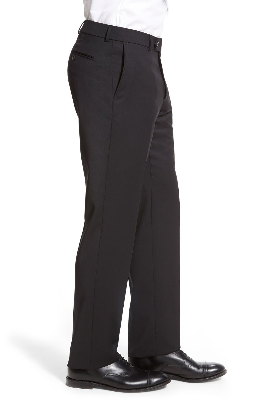 Flat Front Solid Wool Trousers,                             Alternate thumbnail 35, color,