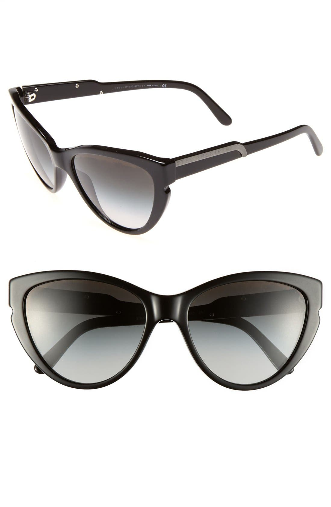 58mm Cat's Eye Sunglasses,                             Main thumbnail 1, color,                             001