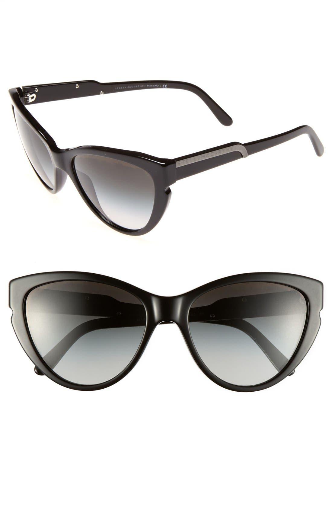 58mm Cat's Eye Sunglasses, Main, color, 001