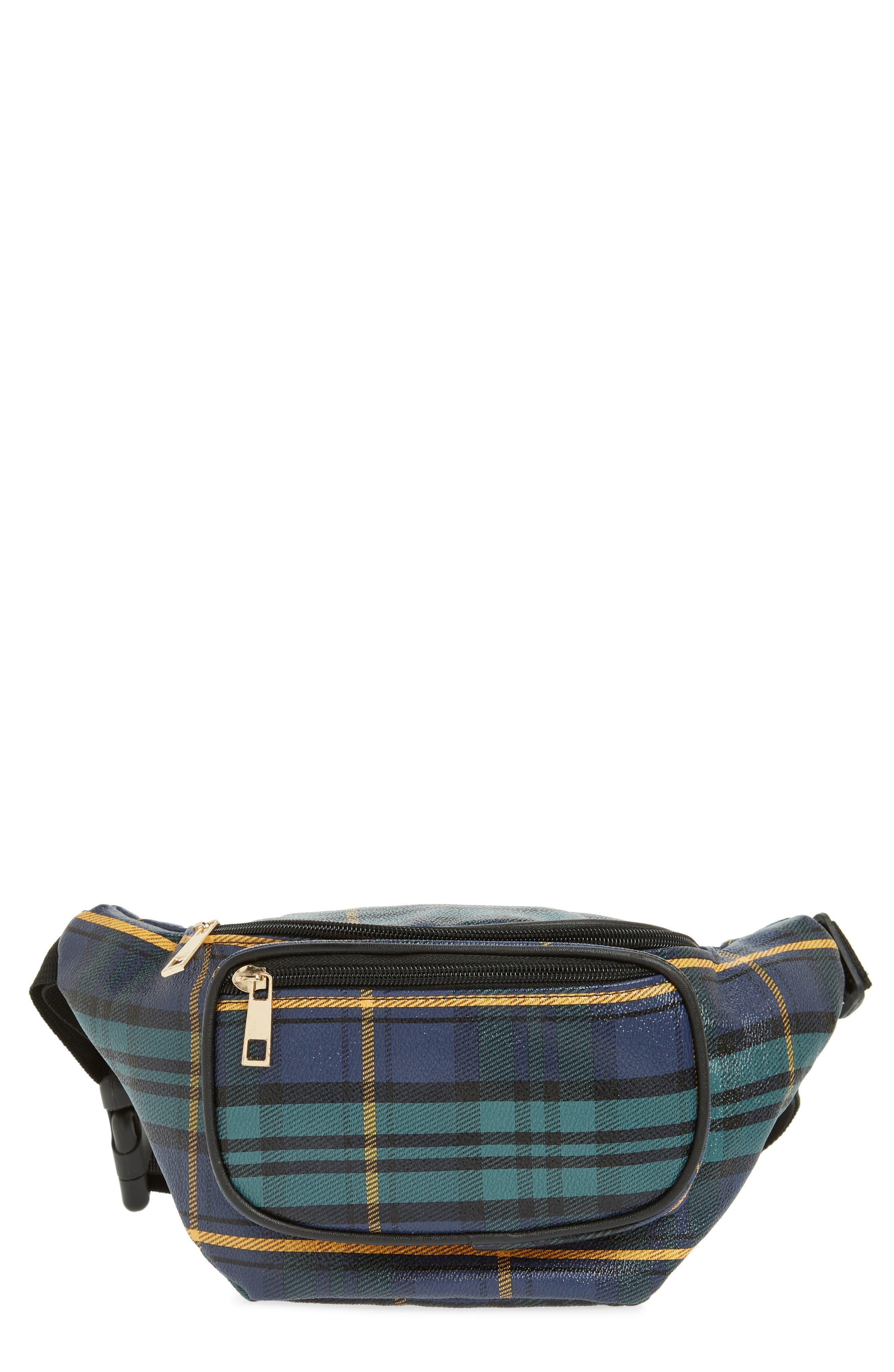 Jane & Berry Plaid Belt Bag,                         Main,                         color, 300