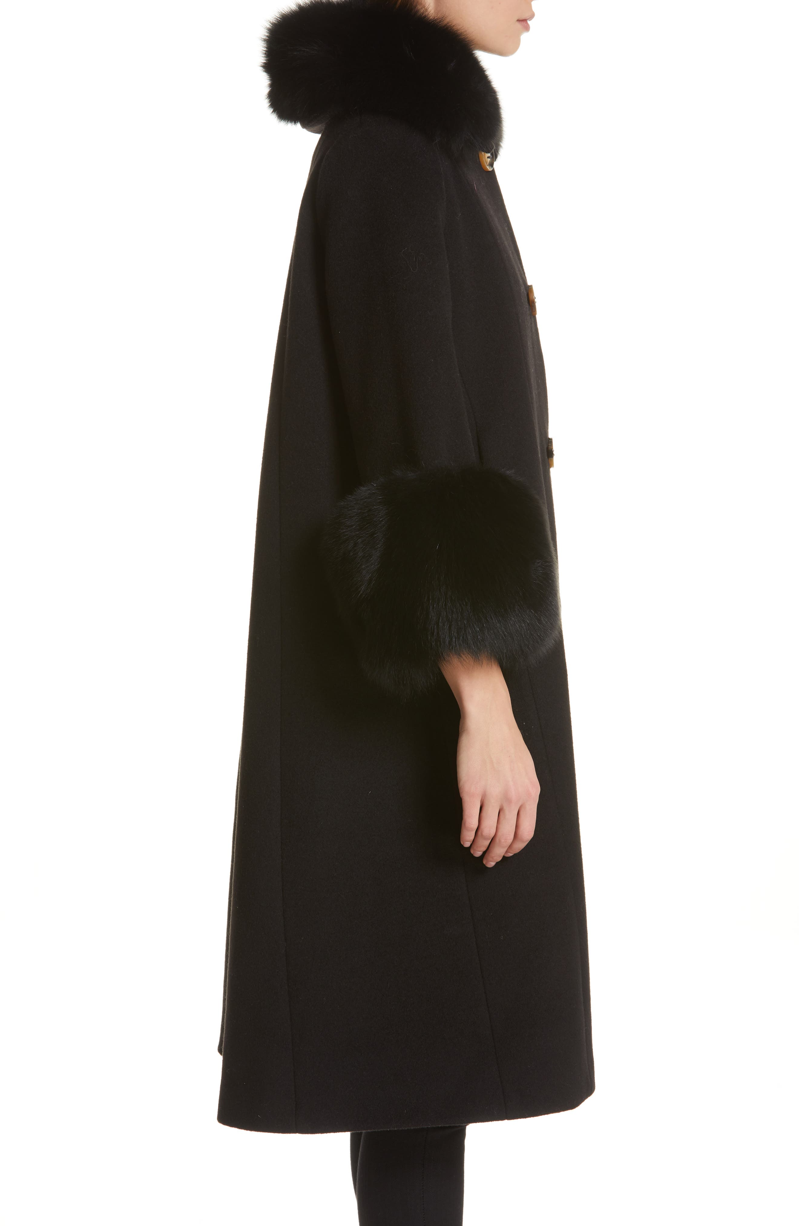 SAKS POTTS,                             Yvonne Wool Coat with Genuine Fox Fur Trim,                             Alternate thumbnail 3, color,                             001