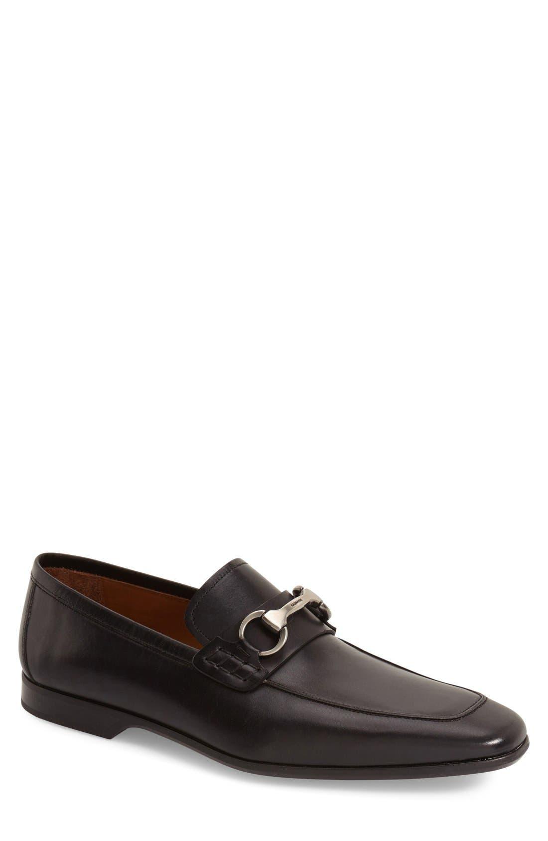 'Rafa II' Bit Loafer,                         Main,                         color, BLACK LEATHER