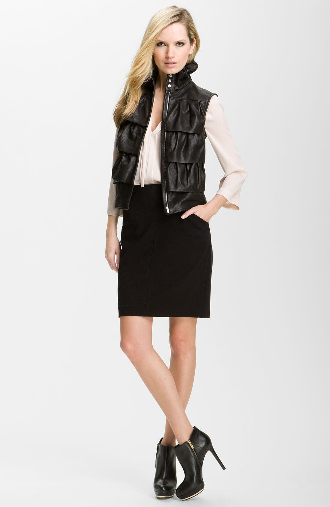 DIANE VON FURSTENBERG,                             'Cupcake' Leather Vest,                             Alternate thumbnail 2, color,                             001
