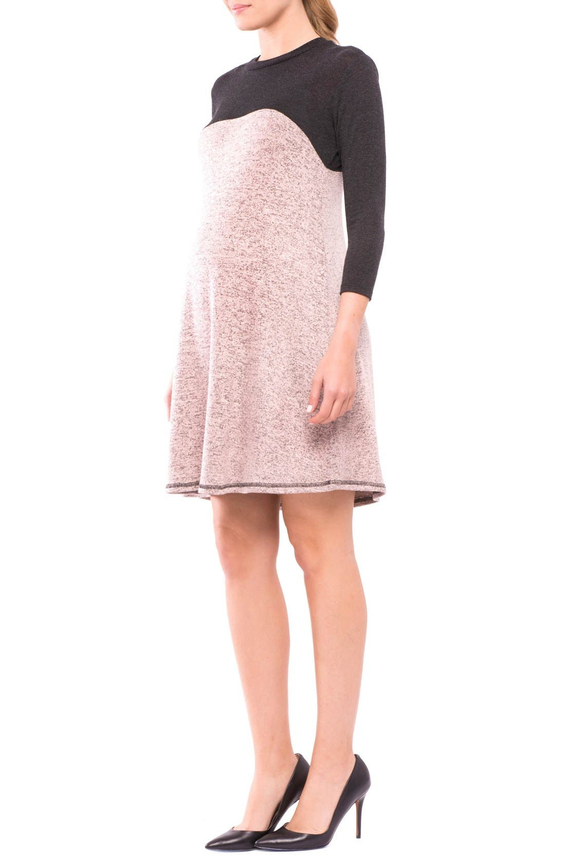 Paola Maternity Sweater Dress,                             Alternate thumbnail 3, color,                             CHARCOAL/ ROSE