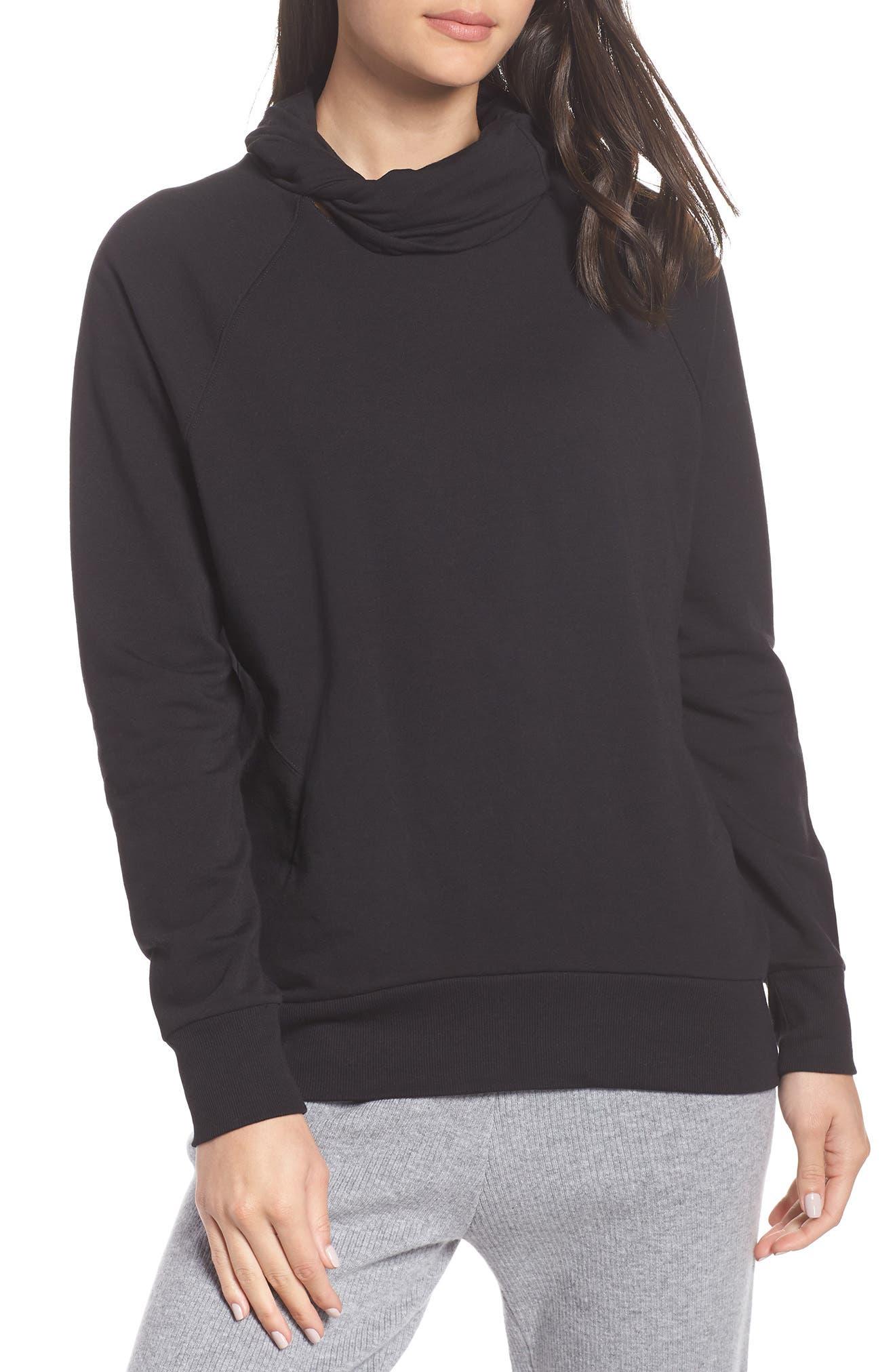 Erica Twist Cowl Neck Pullover,                         Main,                         color, BLACK