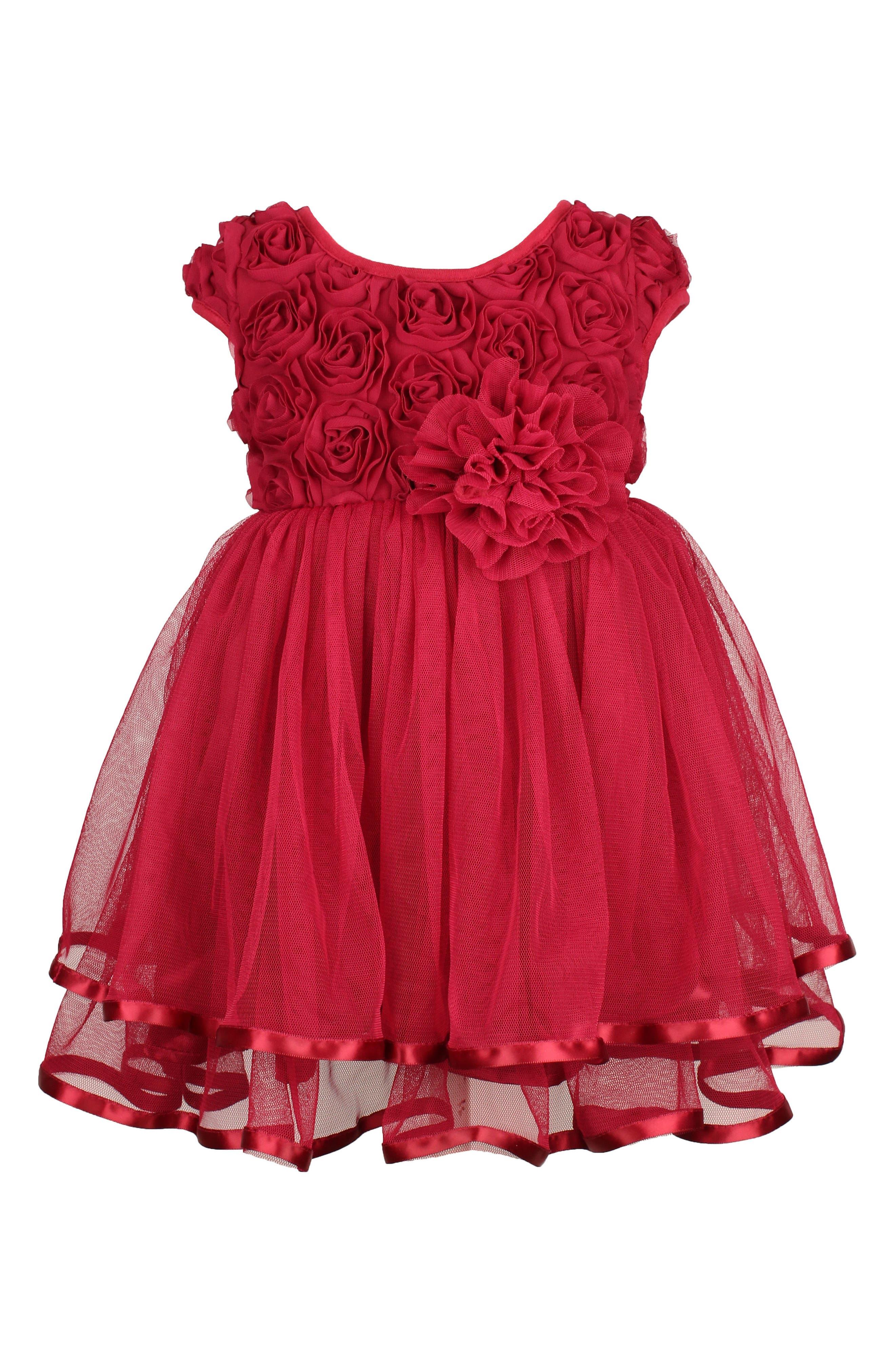 Rosette Tulle Dress,                             Alternate thumbnail 2, color,                             RED