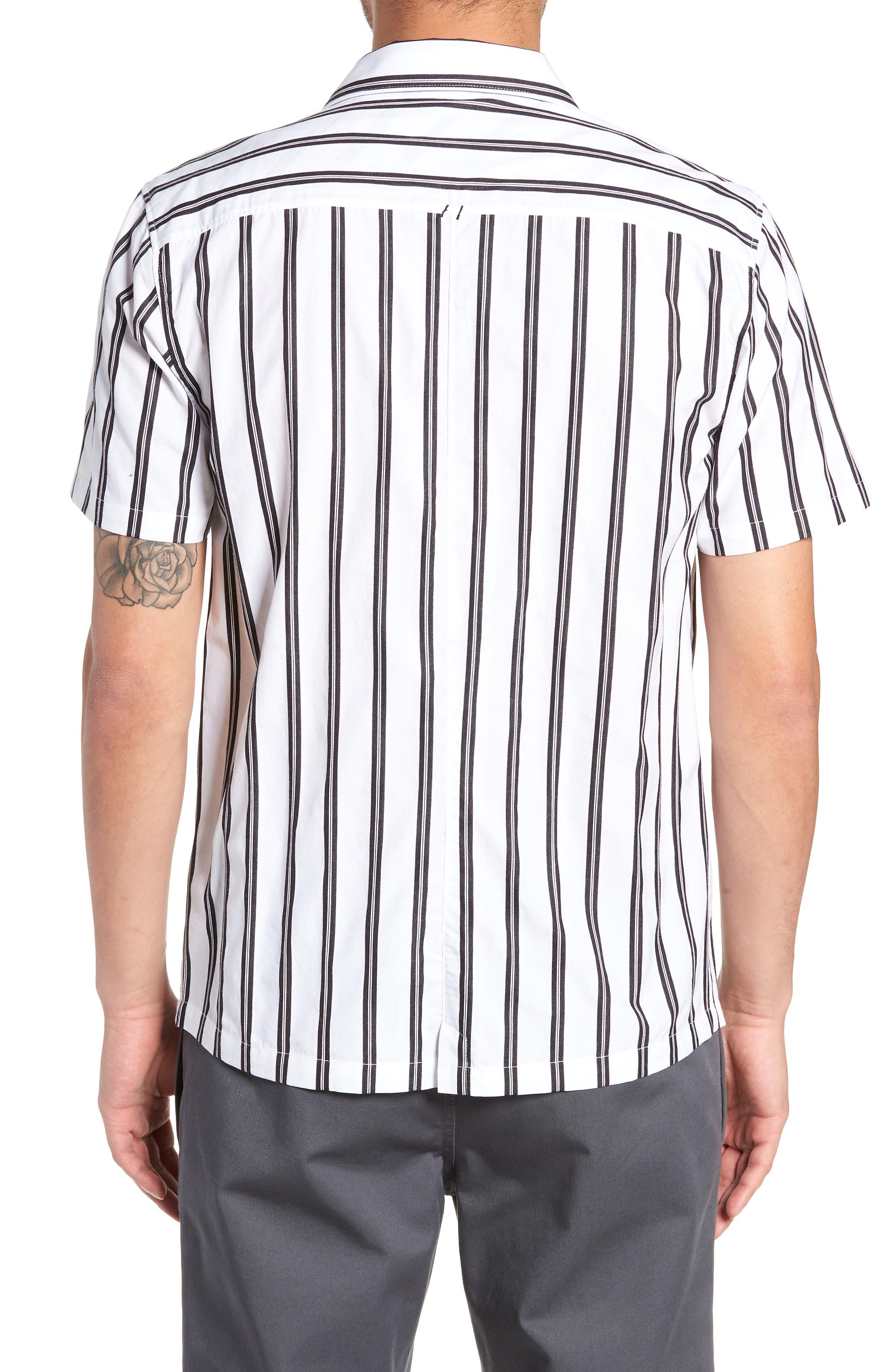 Gable Dobby Stripe Camp Shirt,                             Alternate thumbnail 3, color,                             BLACK STRIPE