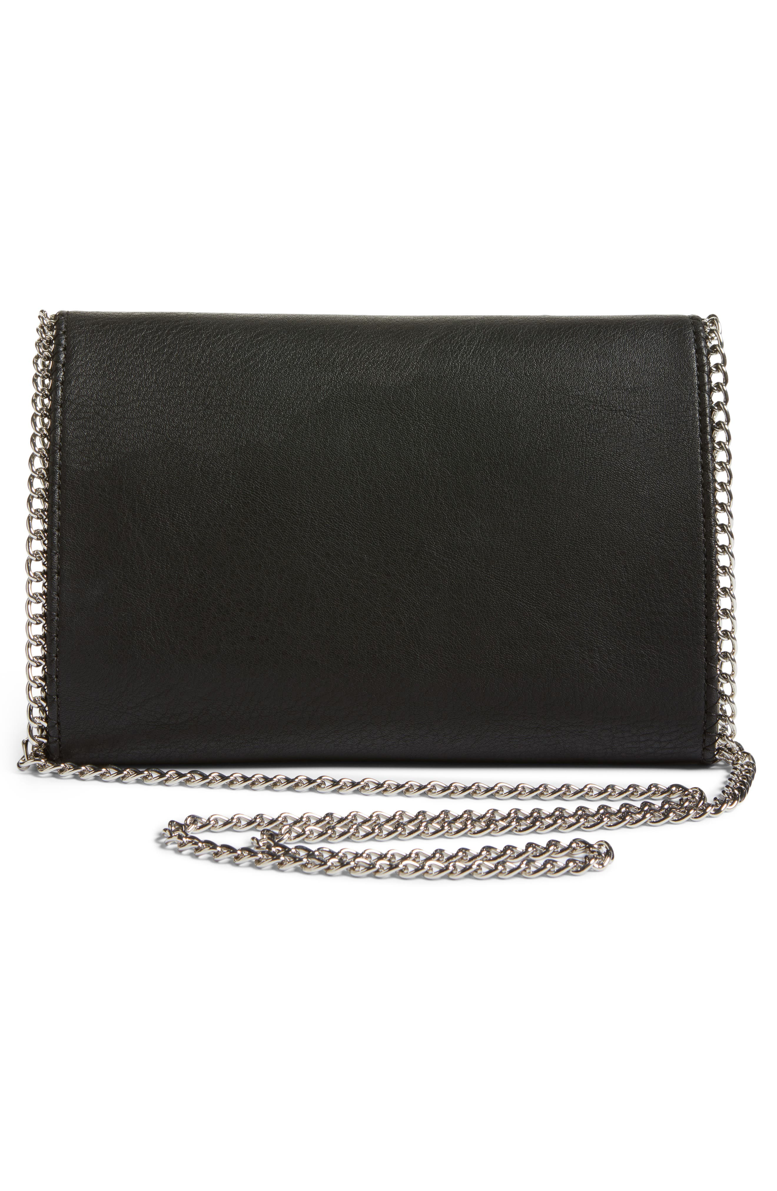 Embellished Faux Leather Convertible Clutch,                             Alternate thumbnail 3, color,                             001