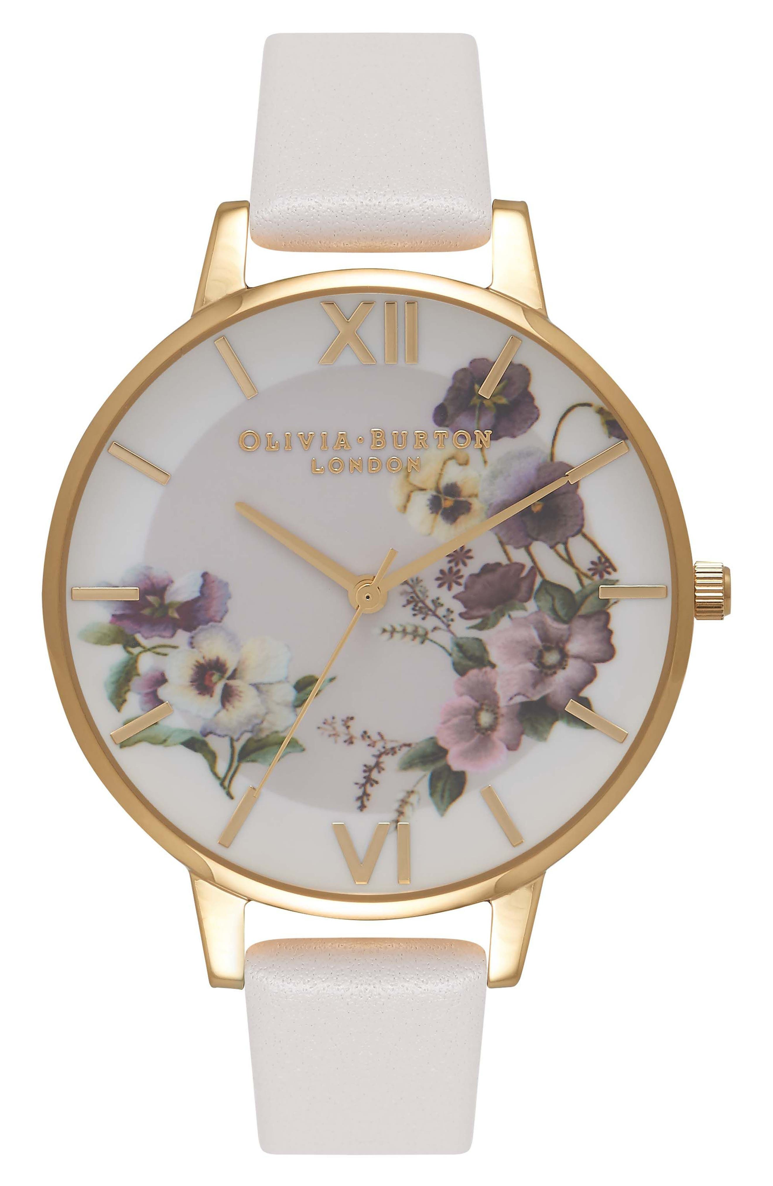 Begin to Blush Leather Strap Watch, 38mm,                         Main,                         color, 650