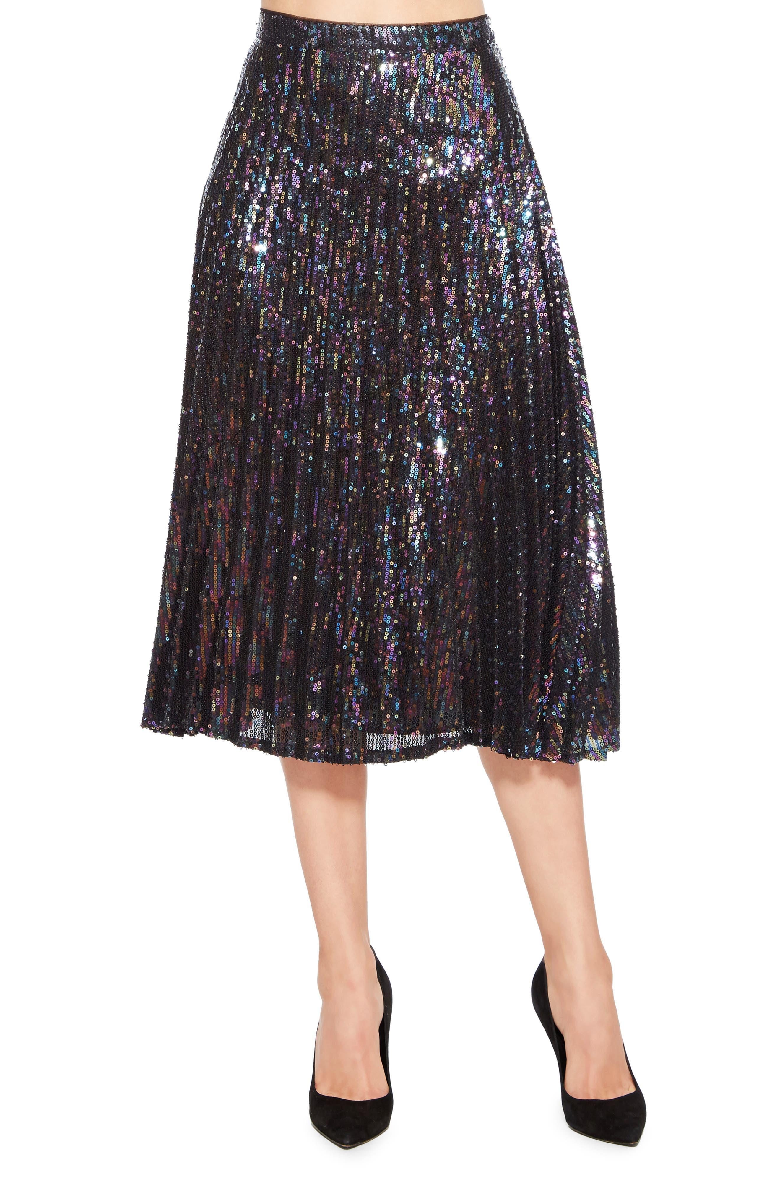 Citrine Sequin Skirt,                         Main,                         color, PETROL
