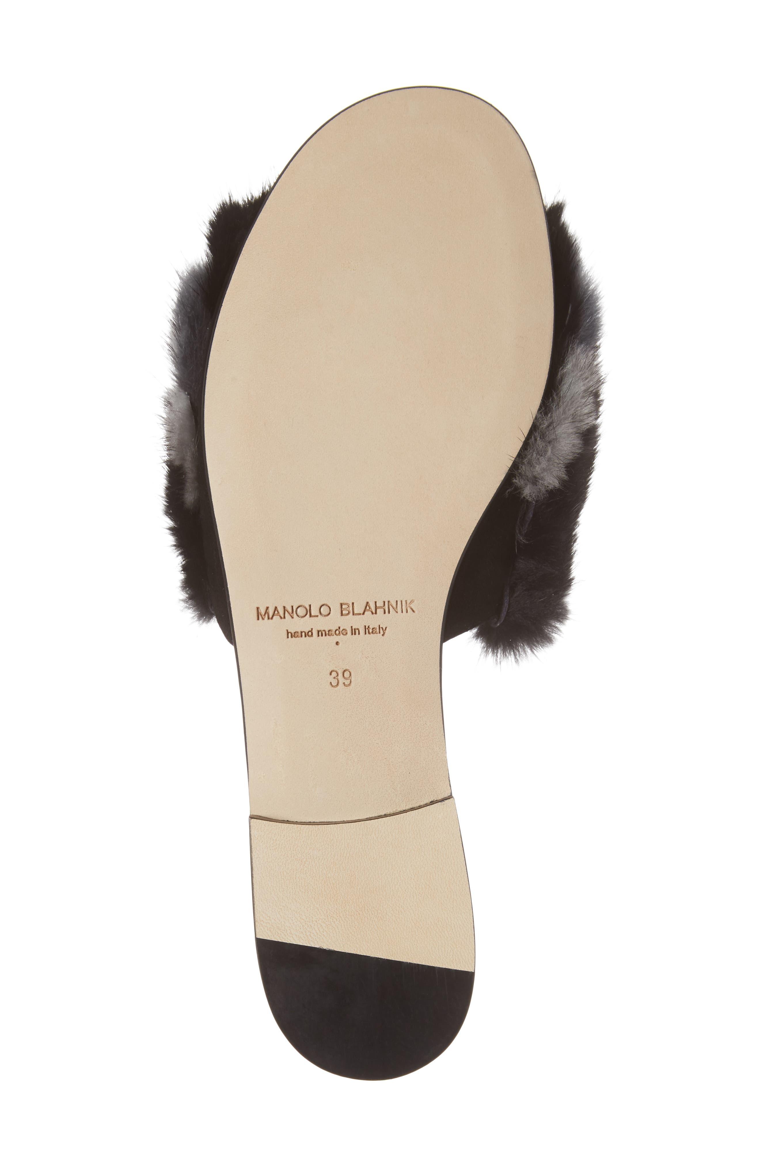 Pelosusmin Genuine Mink Fur Slide Sandal,                             Alternate thumbnail 6, color,                             001