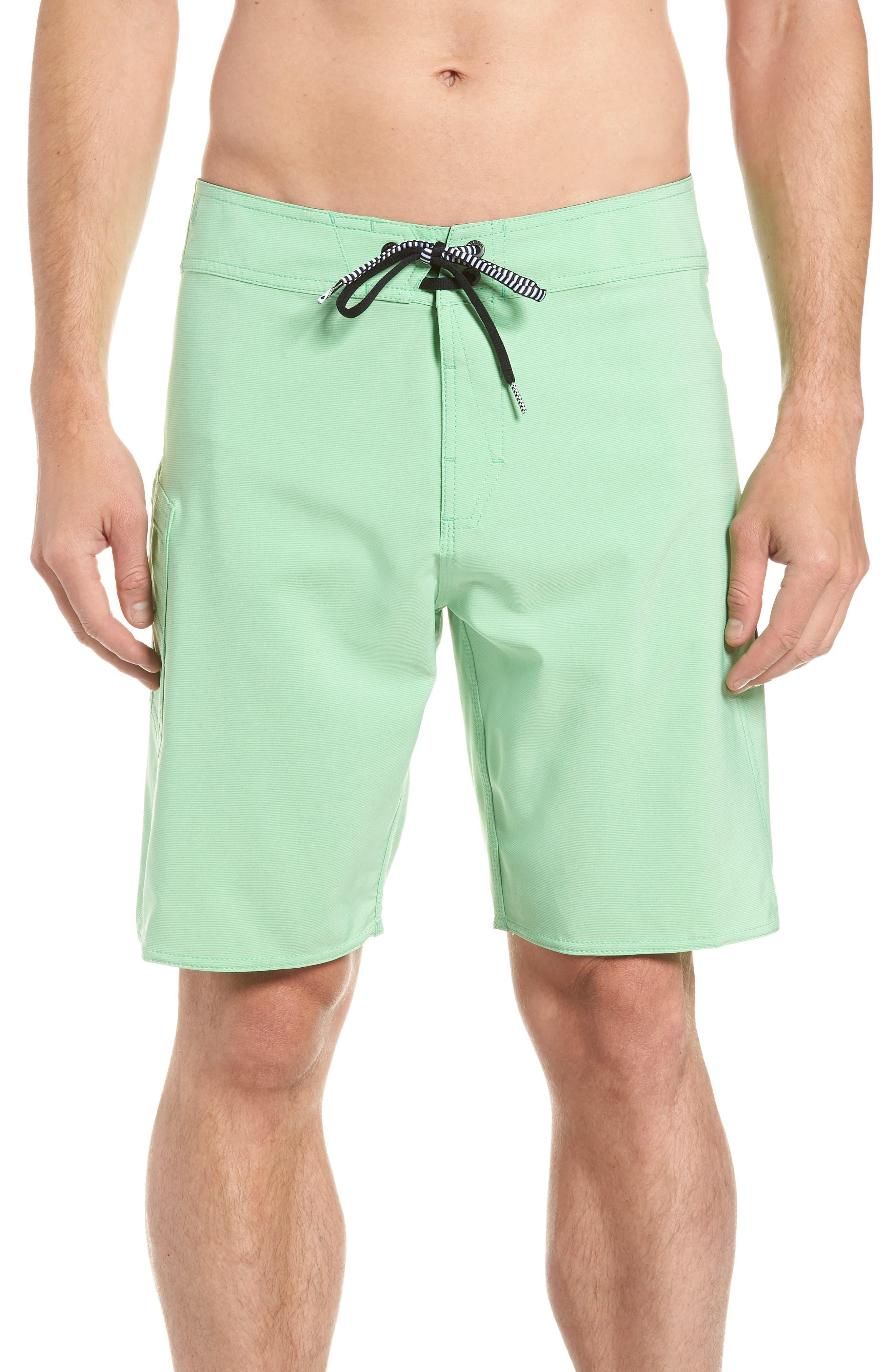 Lido Mod Board Shorts,                         Main,                         color, POISON GREEN