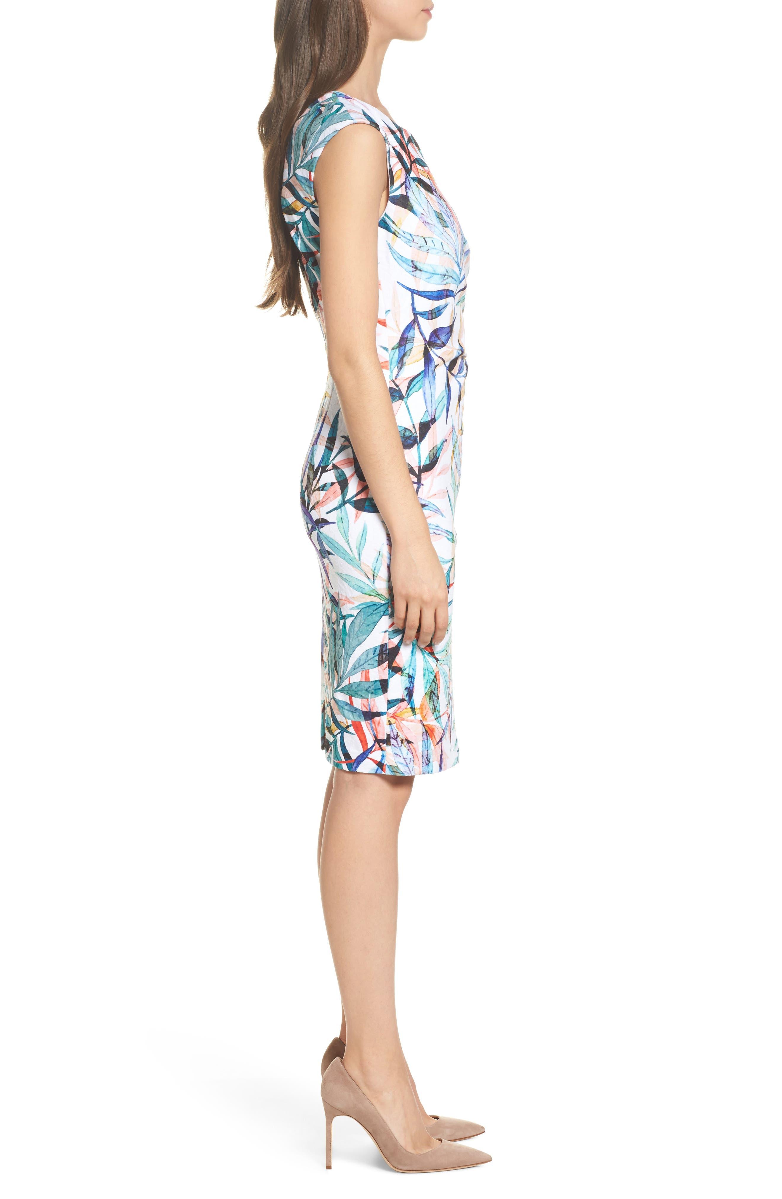 Watercolor Leaves Sheath Dress,                             Alternate thumbnail 3, color,                             900