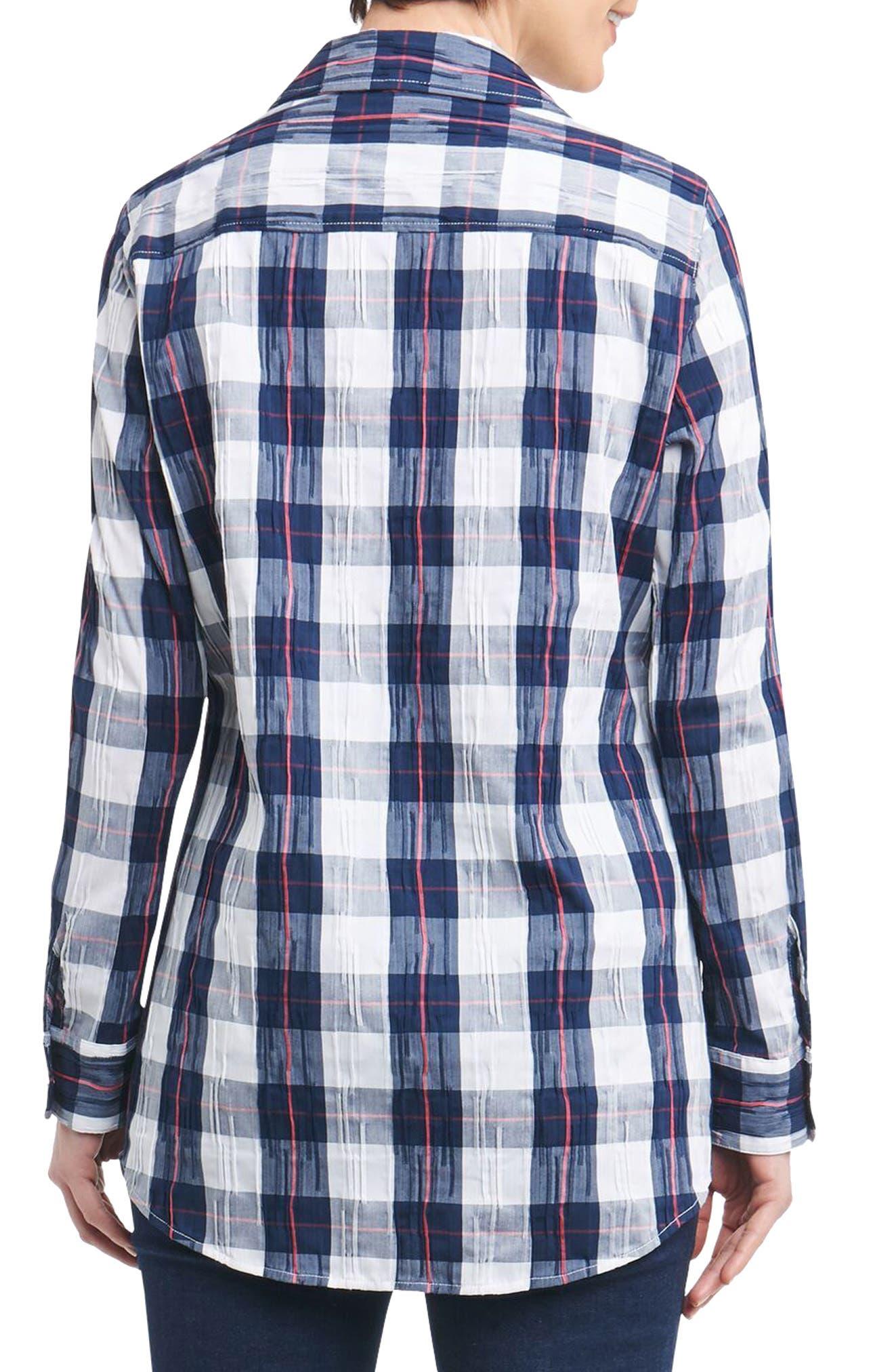 Fay Crinkle Plaid Stretch Cotton Blend Tunic Shirt,                             Alternate thumbnail 4, color,