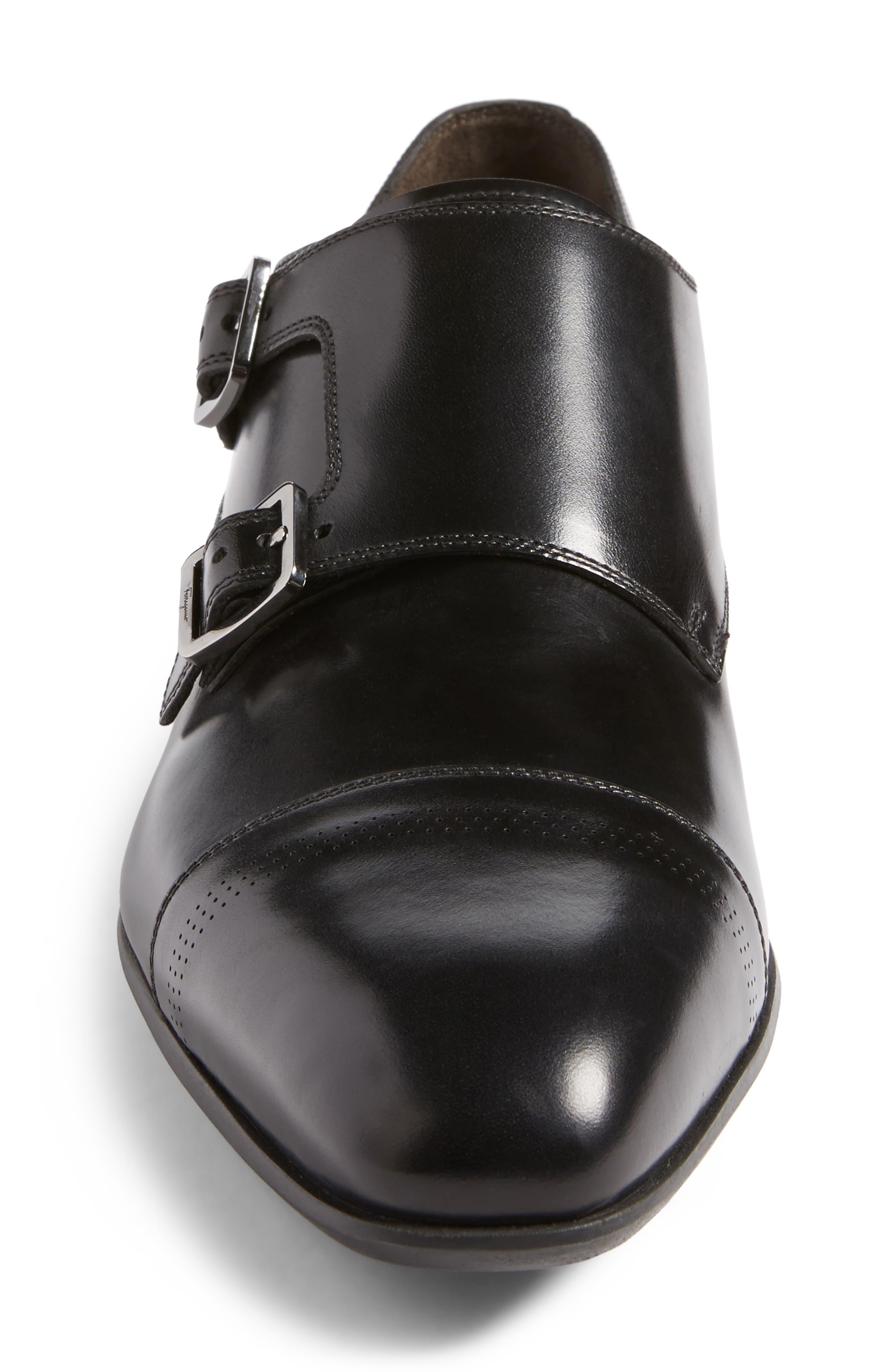 Defoe Double Monk Strap Shoe,                             Alternate thumbnail 4, color,                             001