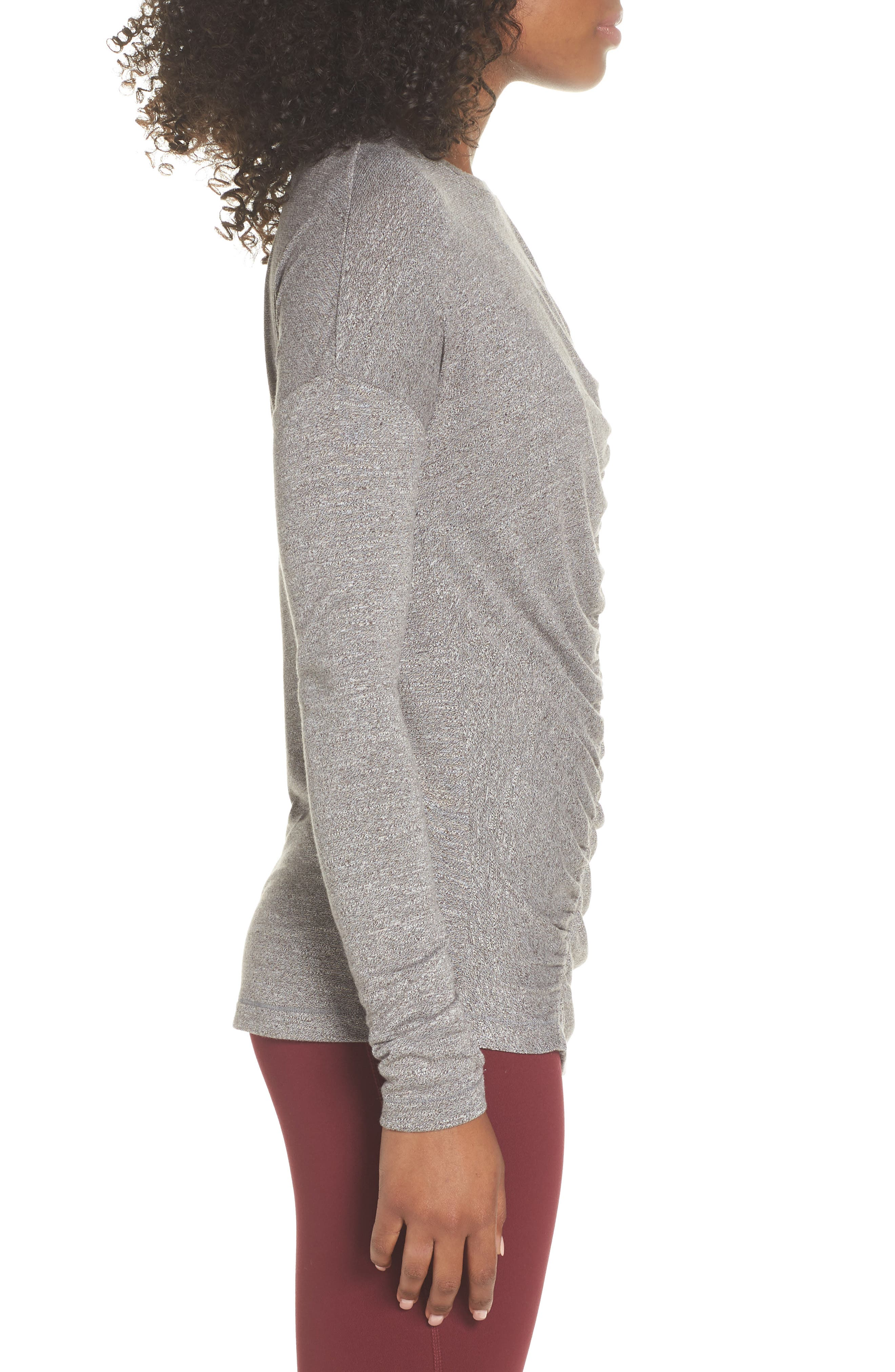 So Graceful Ruched Tee,                             Alternate thumbnail 3, color,                             GREY DARK HEATHER