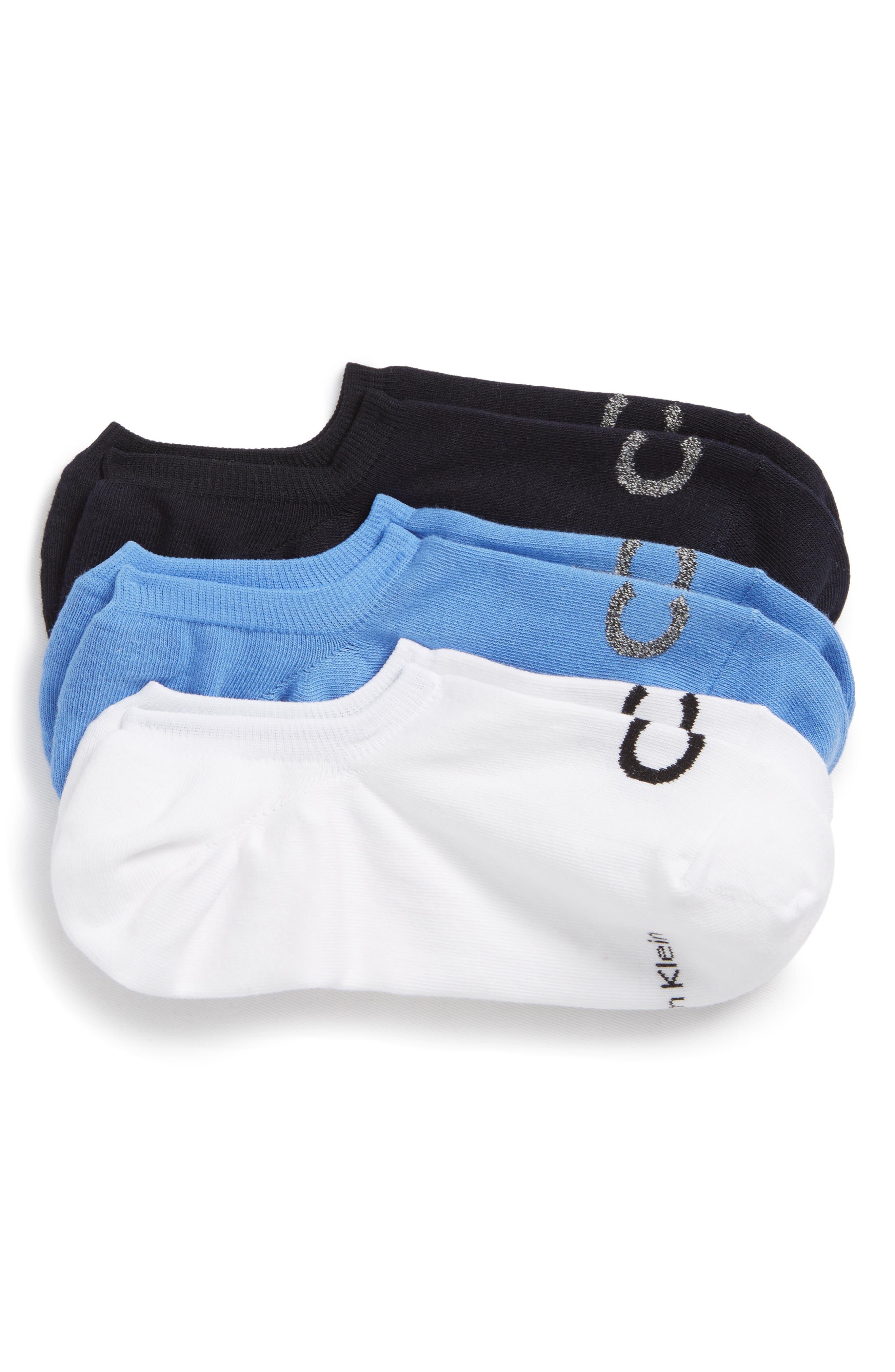 3-Pack No-Show Socks,                         Main,                         color, ULTRAMARINE/ NAVY/ WHITE
