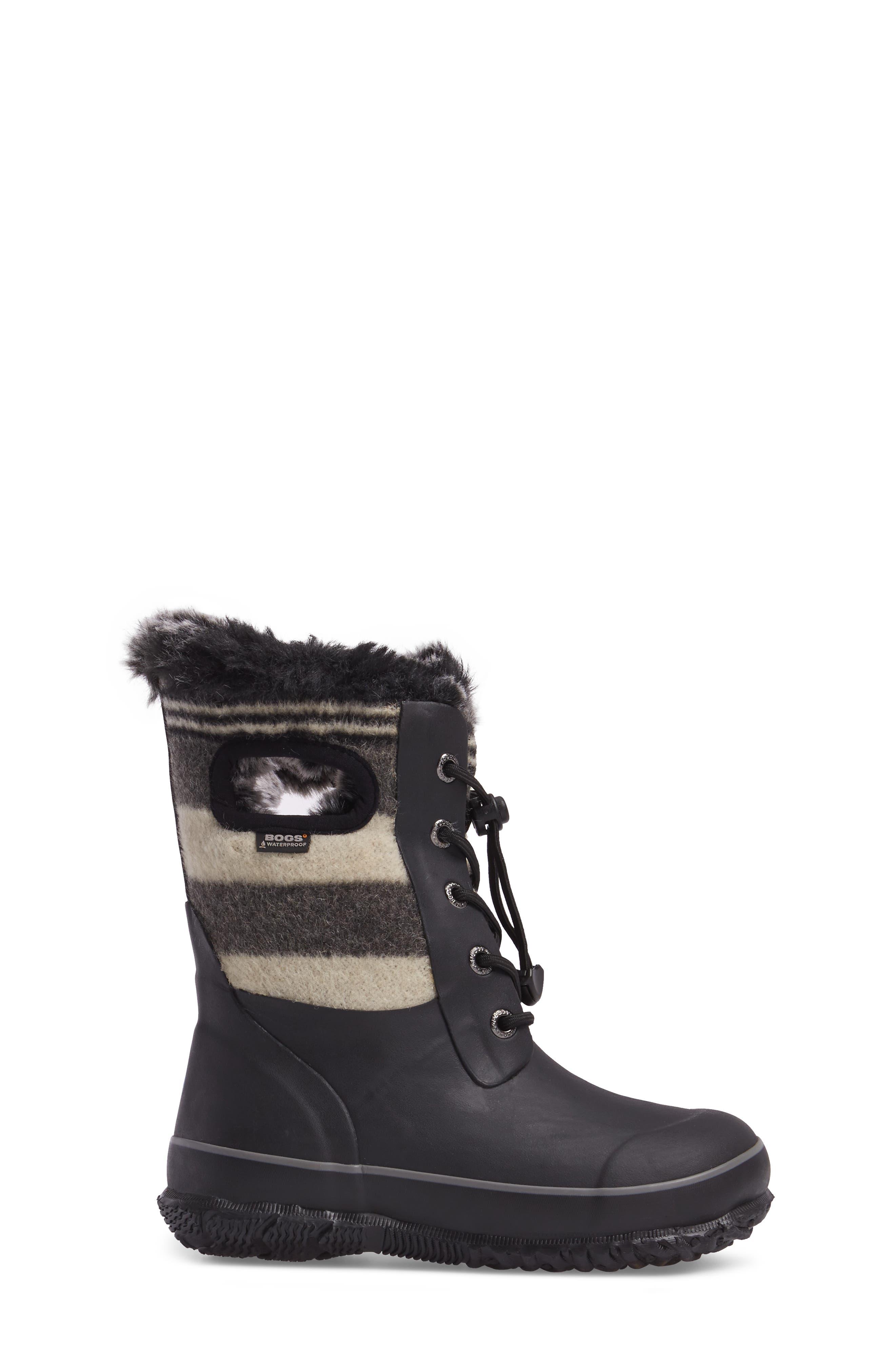Arcata Stripe Waterproof Insulated Faux Fur Boot,                             Alternate thumbnail 3, color,                             BLACK MULTI