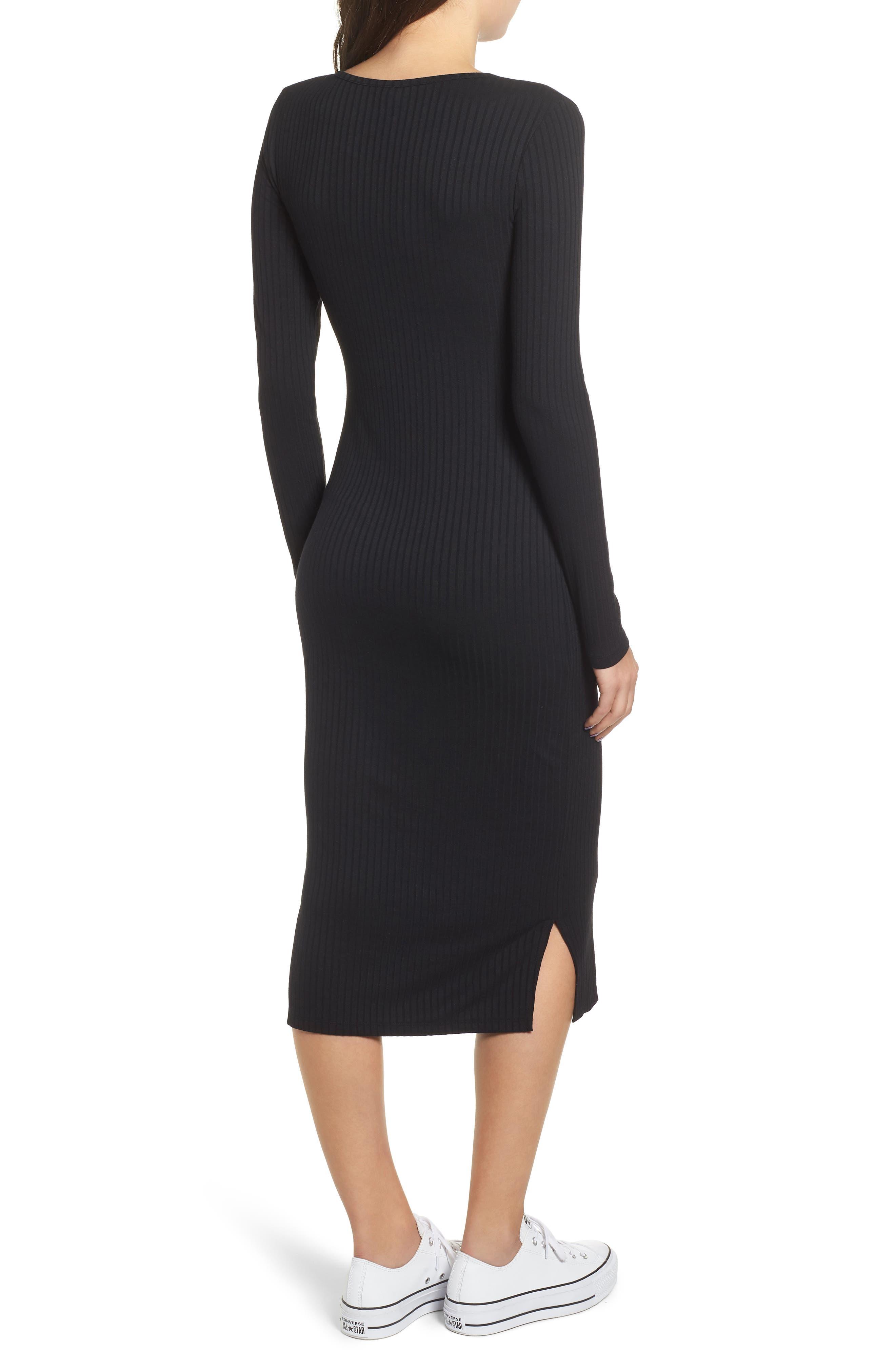 Ribbed Henley Midi Dress,                             Alternate thumbnail 2, color,                             BLACK