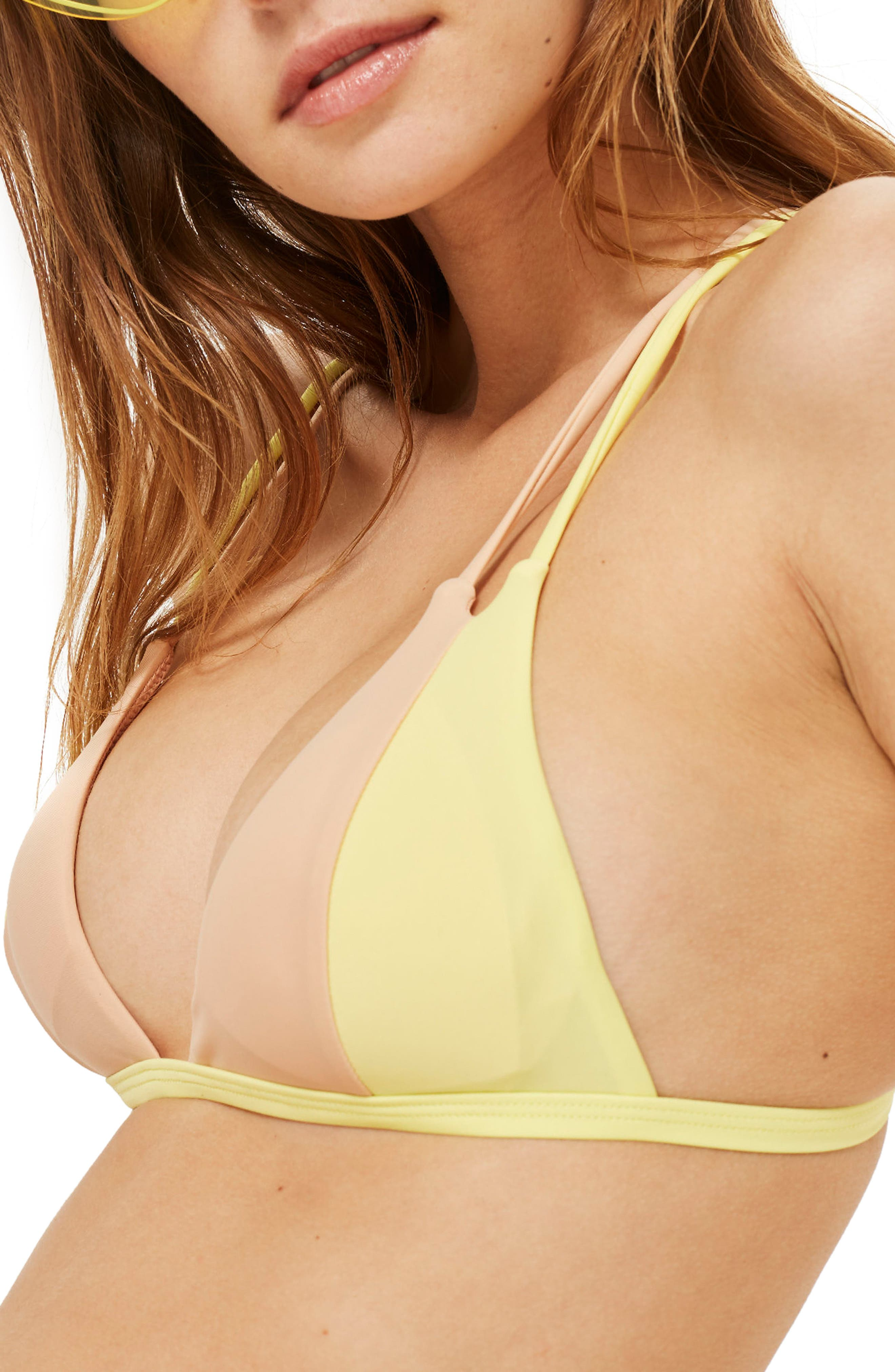 Colorblock Triangle Bikini Top,                         Main,                         color, 700