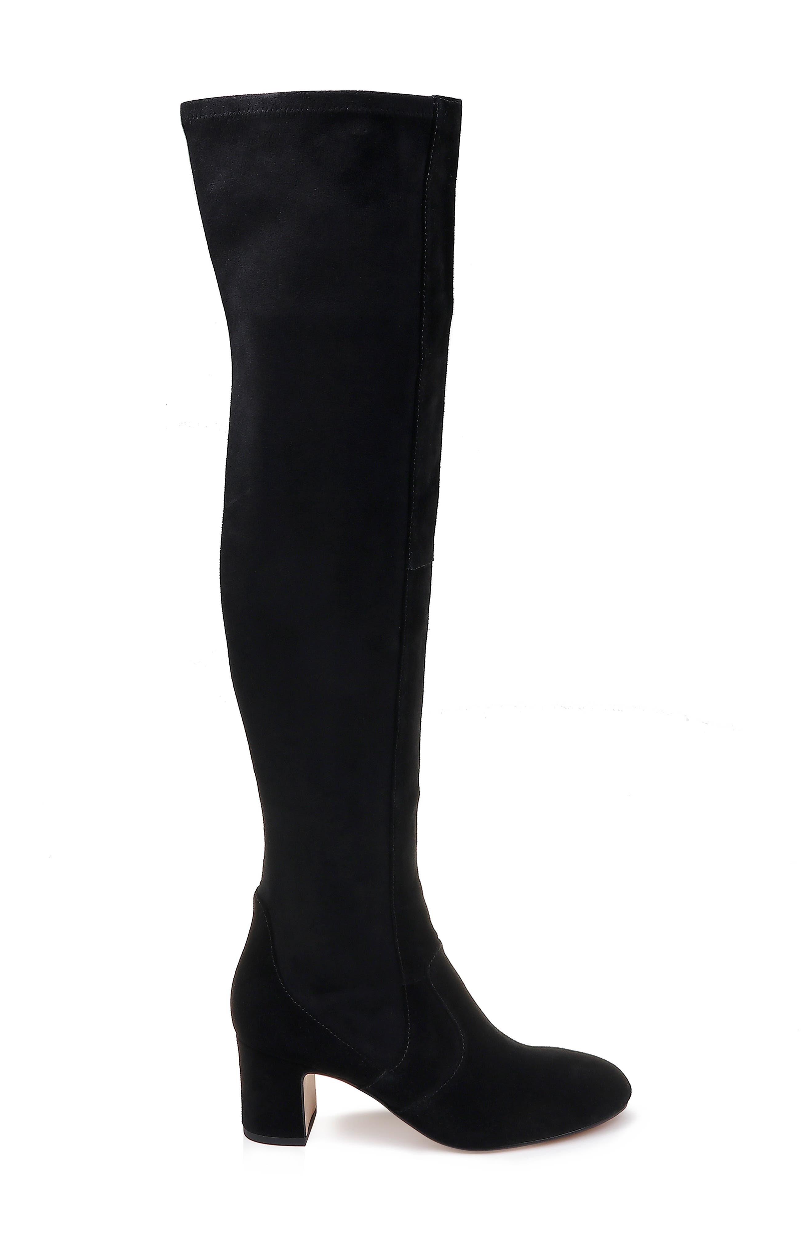 Over the Knee Stretch Back Boot,                             Alternate thumbnail 3, color,                             BLACK SUEDE