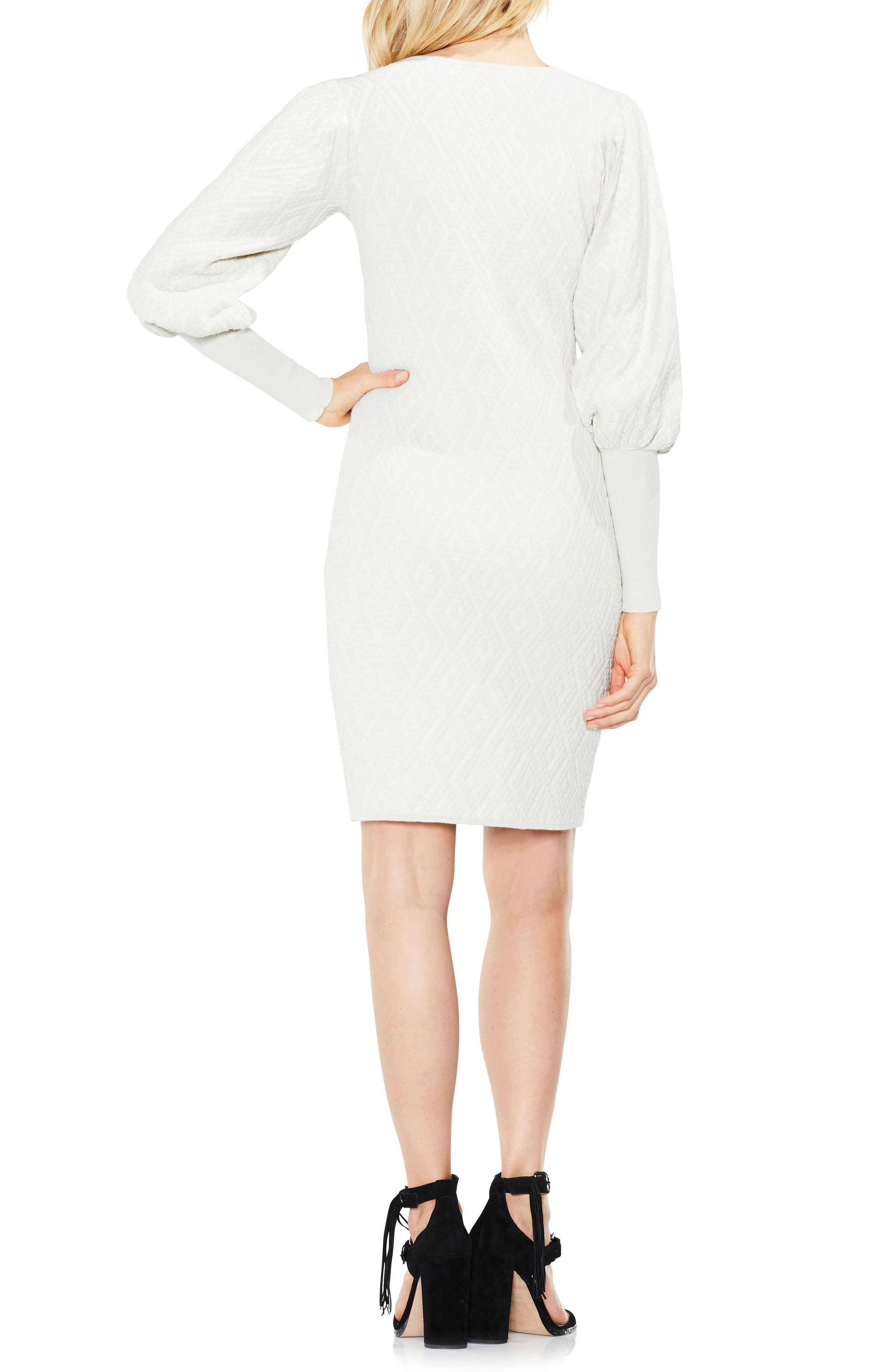 Bubble Sleeve Textured Jacquard Dress,                             Alternate thumbnail 4, color,