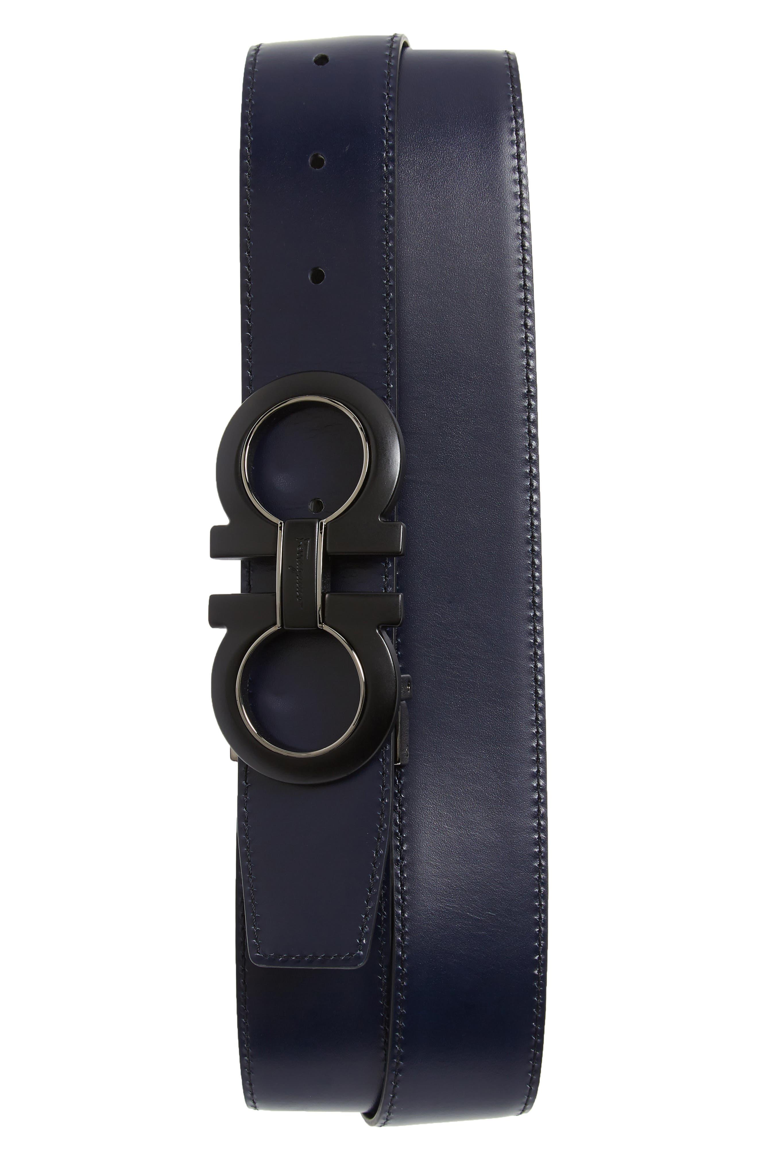 Reversible Leather Belt,                             Alternate thumbnail 2, color,                             NERO / BLUE MARINE