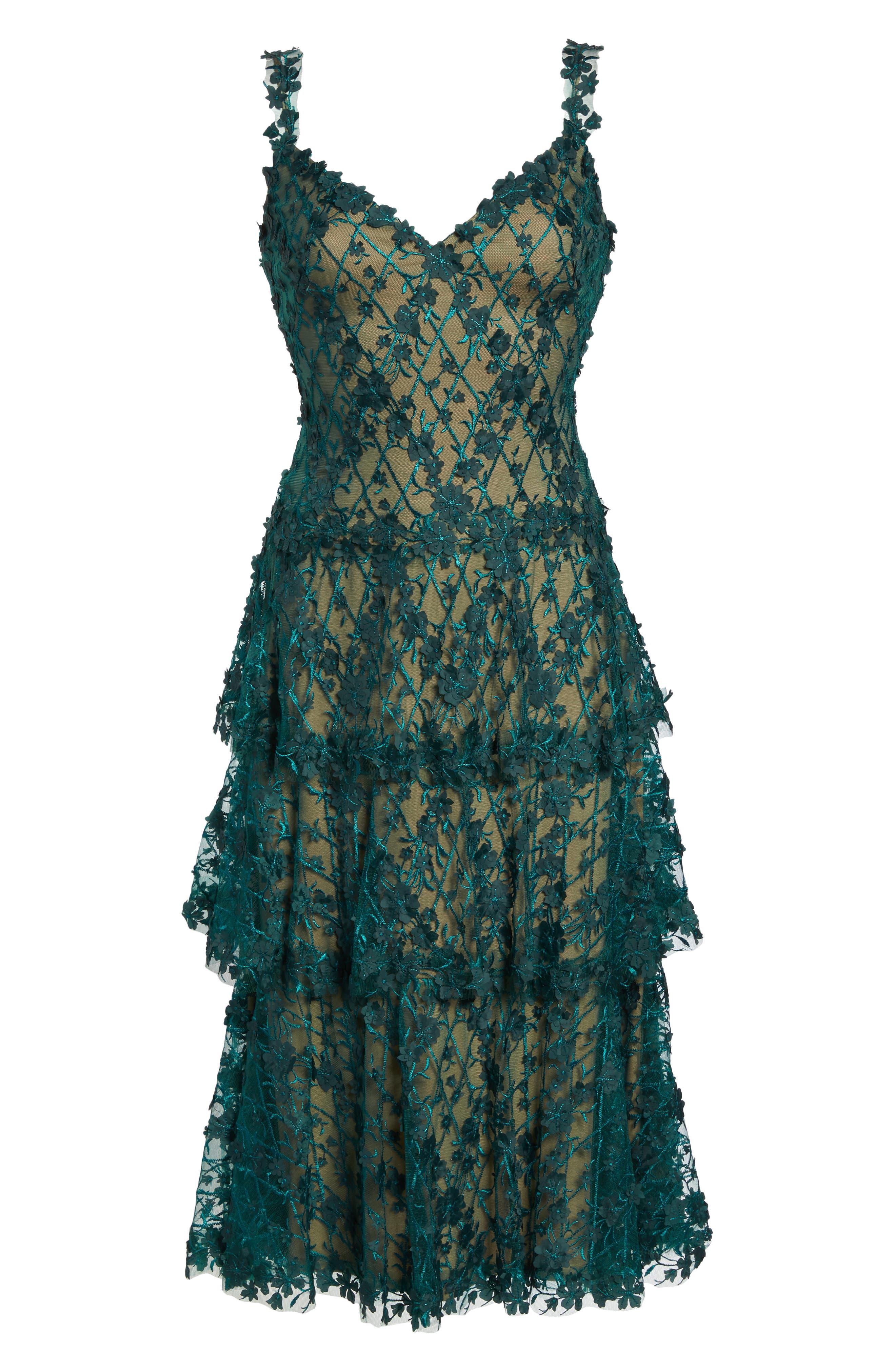 3D Floral Midi Dress,                             Alternate thumbnail 6, color,                             PINE/ NUDE