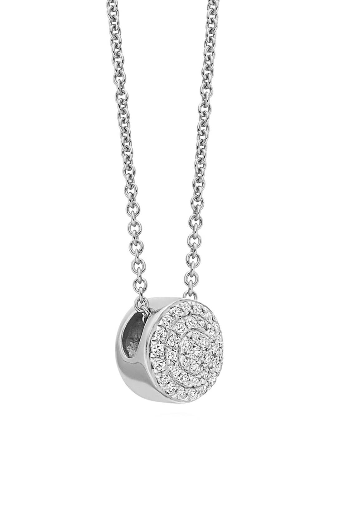 MONICA VINADER Ava Diamond Button Pendant Necklace, Main, color, SILVER