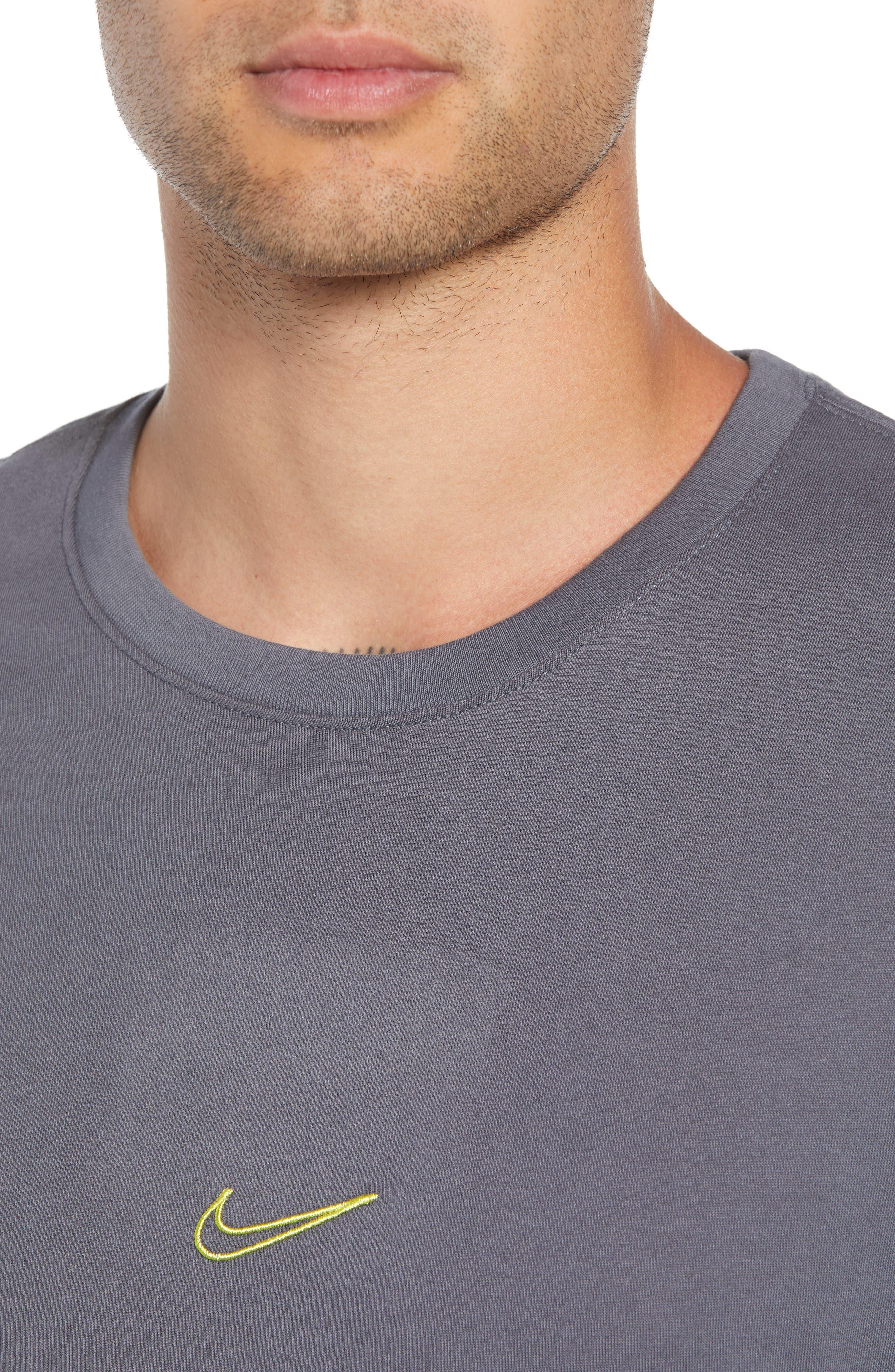 SB Dry Tropical Graphic T-Shirt,                             Alternate thumbnail 4, color,                             DARK GREY/ DYNAMIC YELLOW