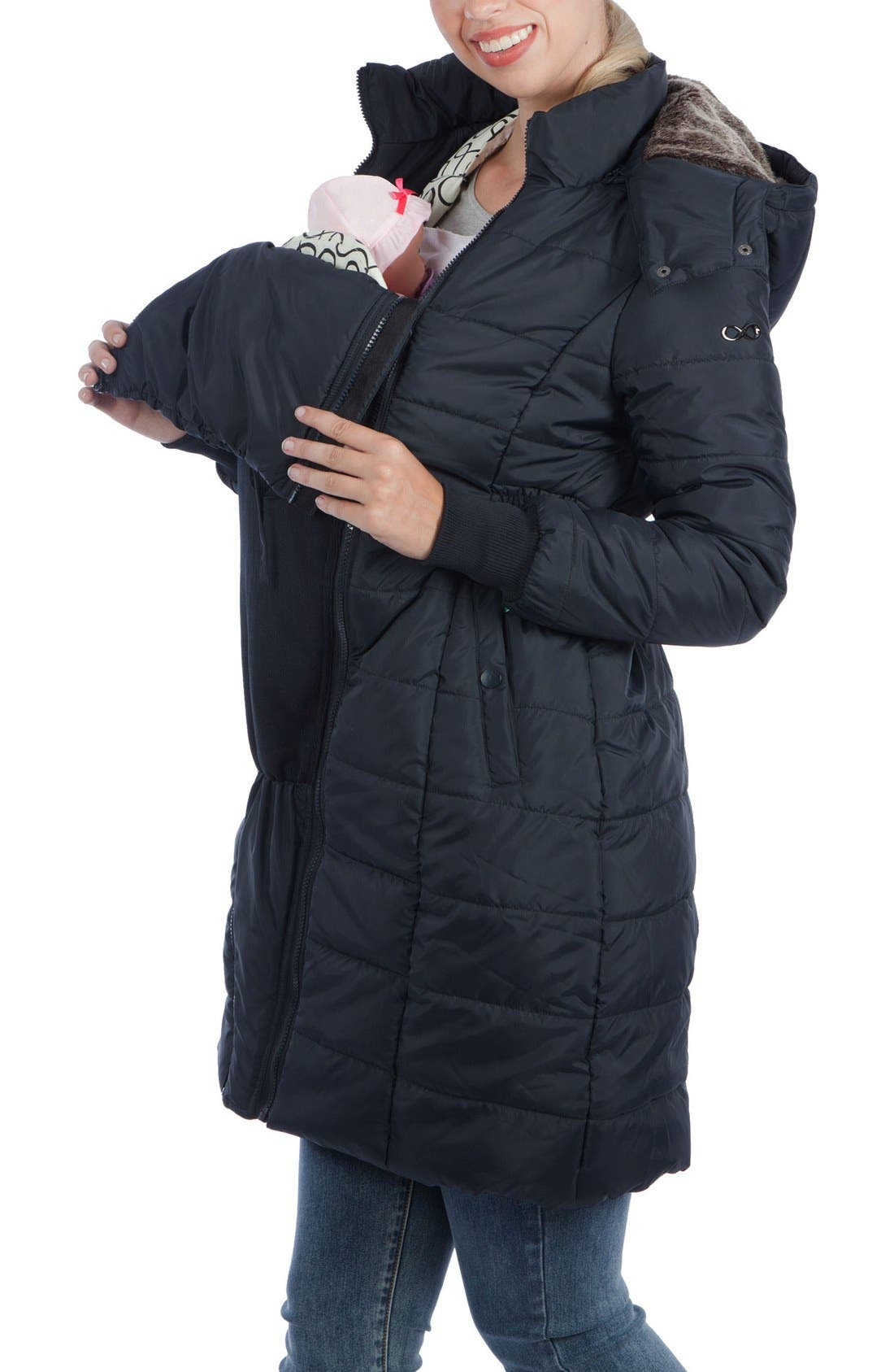 Madison Quilted 3-in-1 Maternity Puffer Coat with Faux Fur Trim,                             Alternate thumbnail 9, color,                             BLACK
