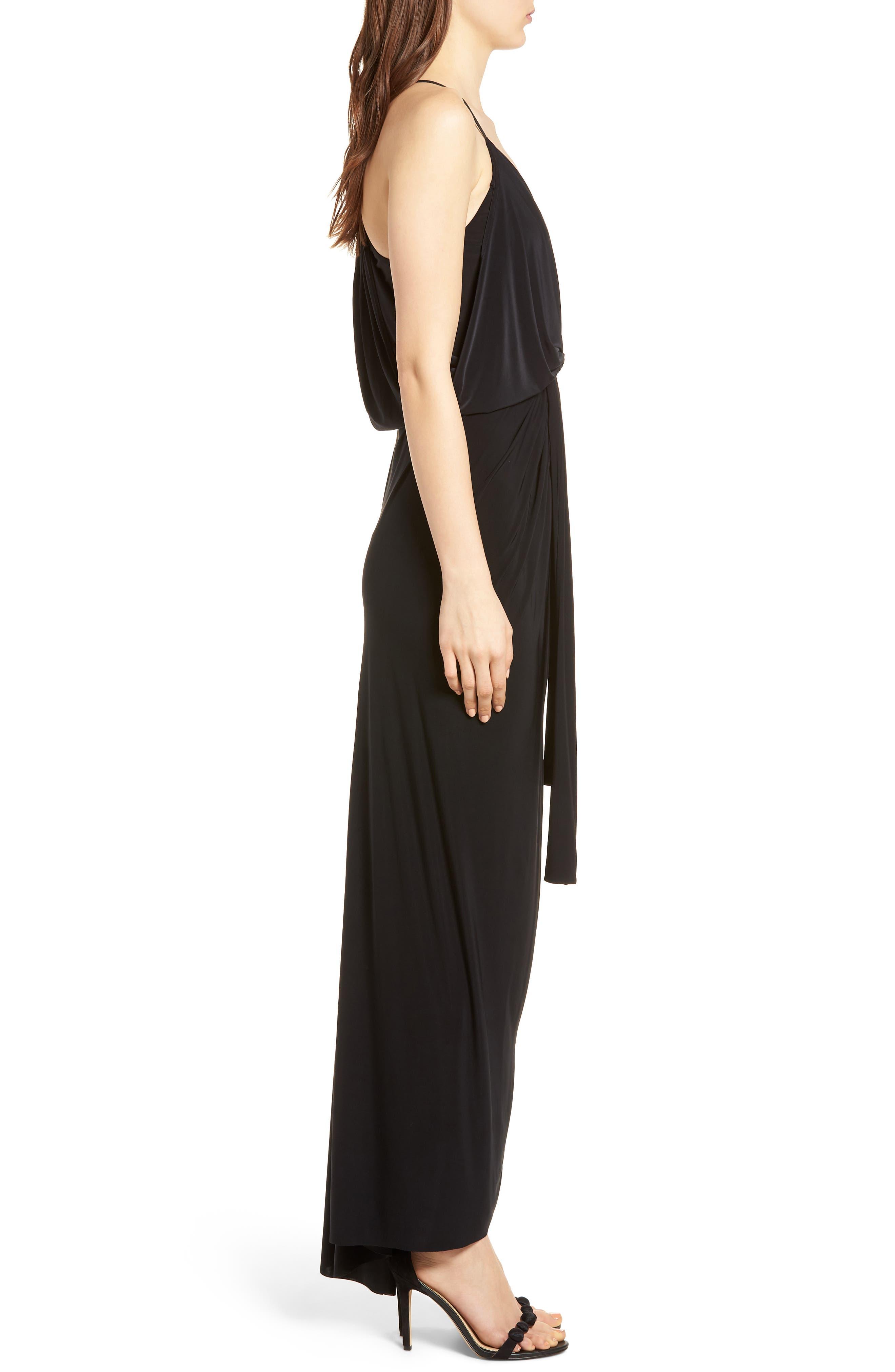 Domino Knot Maxi Dress,                             Alternate thumbnail 3, color,                             BLACK