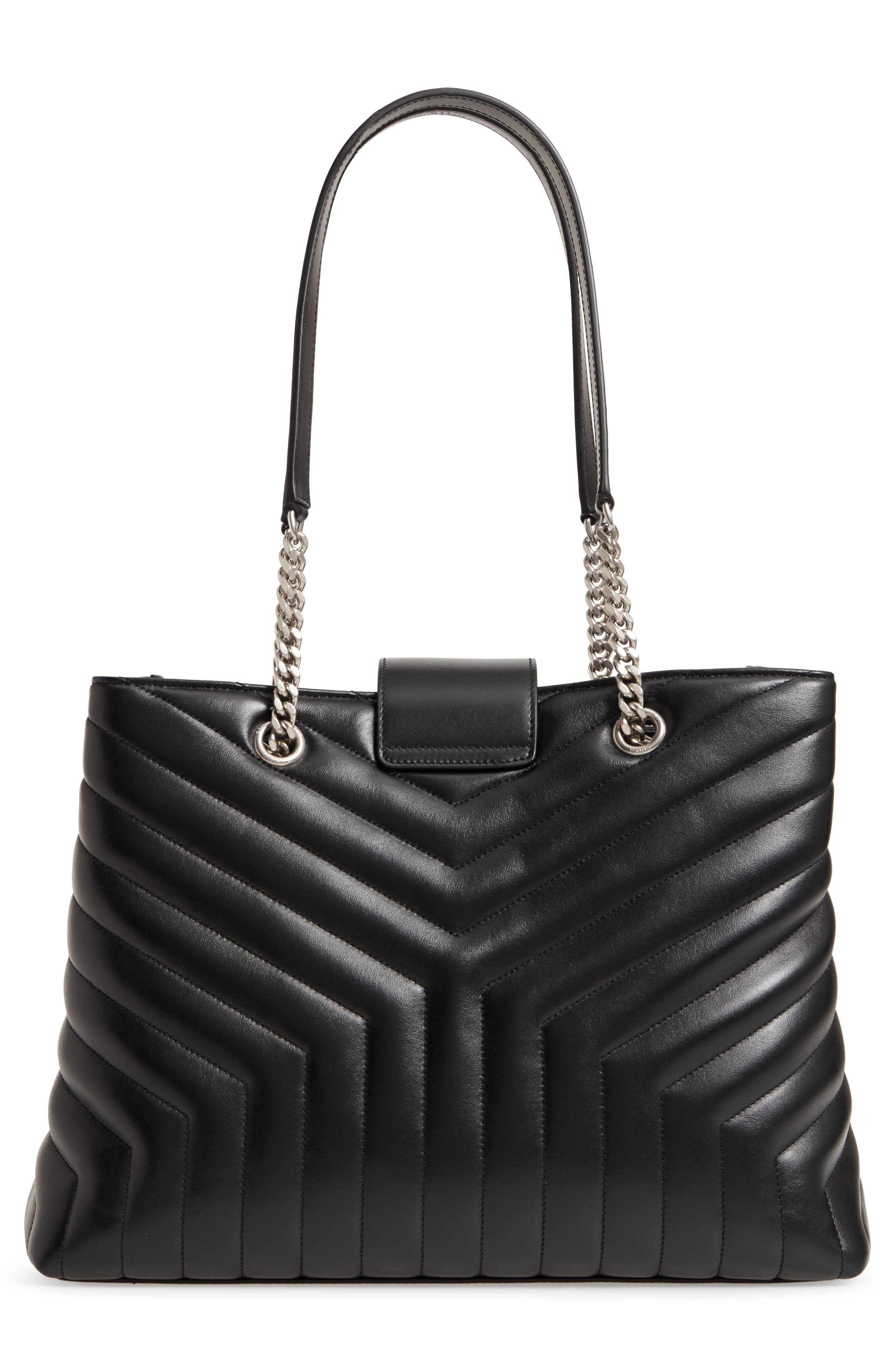 Large Loulou Matelassé Leather Shopper,                             Alternate thumbnail 3, color,                             NERO/ NERO