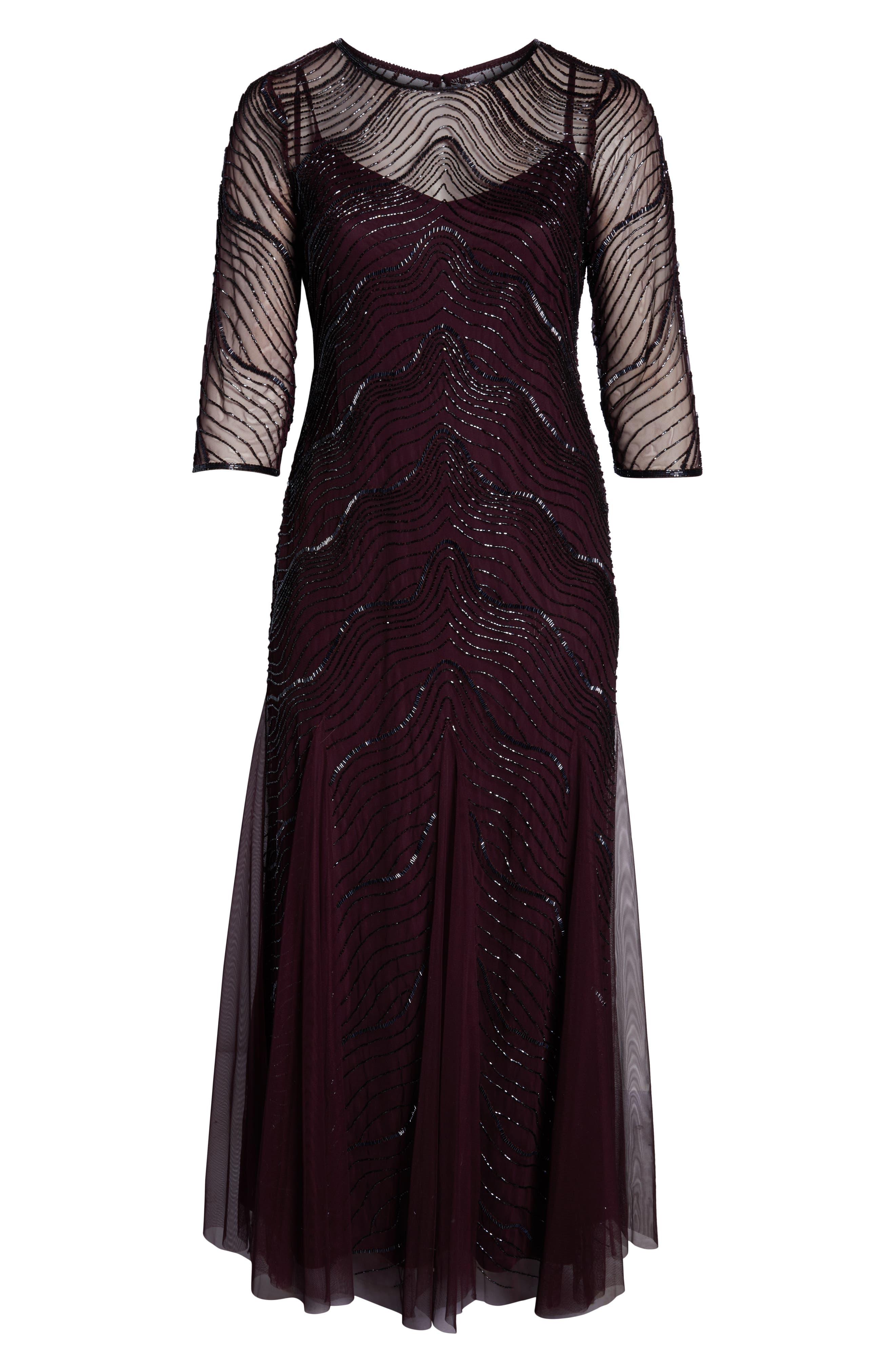 Deco Beaded Godet Gown,                             Alternate thumbnail 7, color,                             500