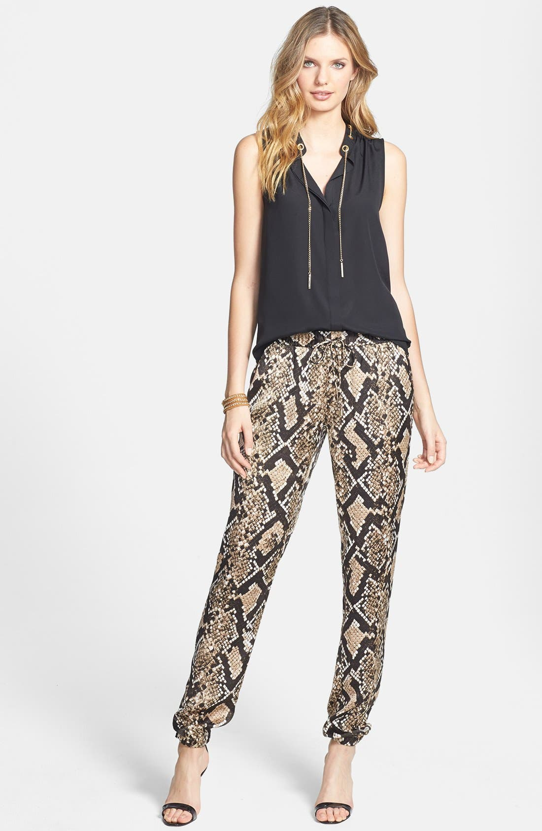 Snakeskin Print Track Pants,                             Alternate thumbnail 4, color,                             249
