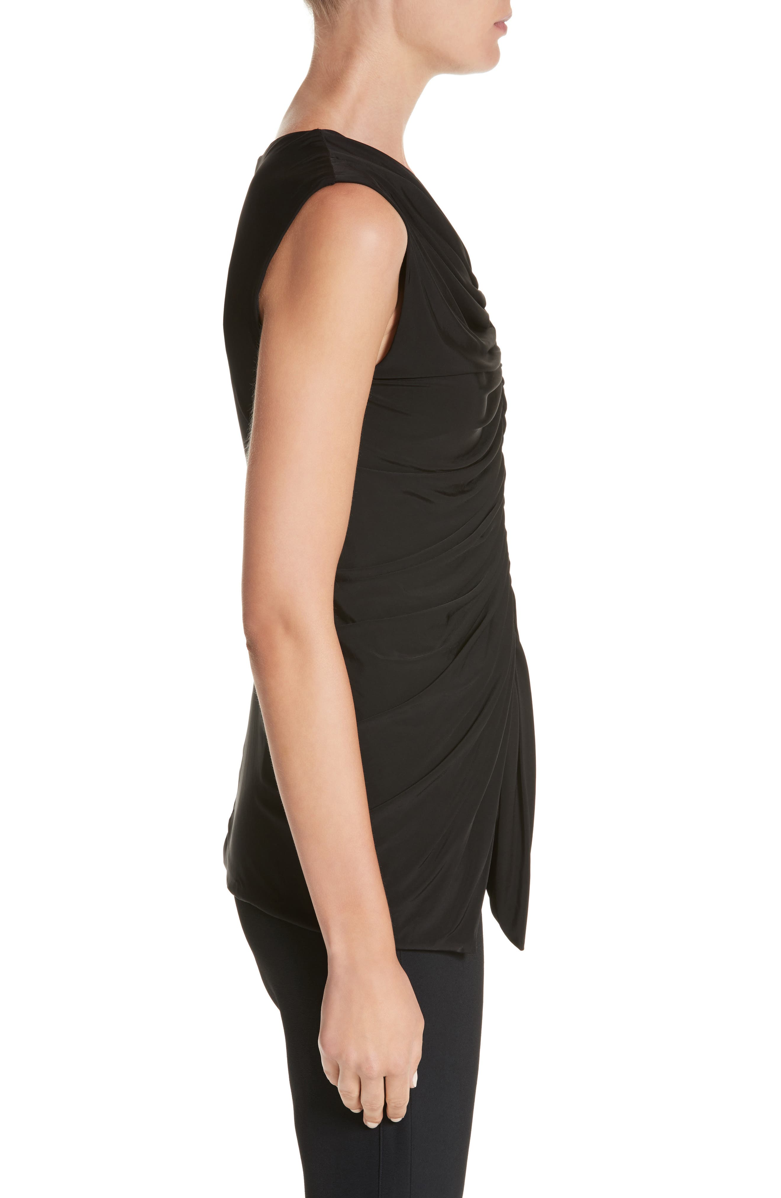 Jason Wu Asymmetrical Ruched Jersey Top,                             Alternate thumbnail 3, color,                             001