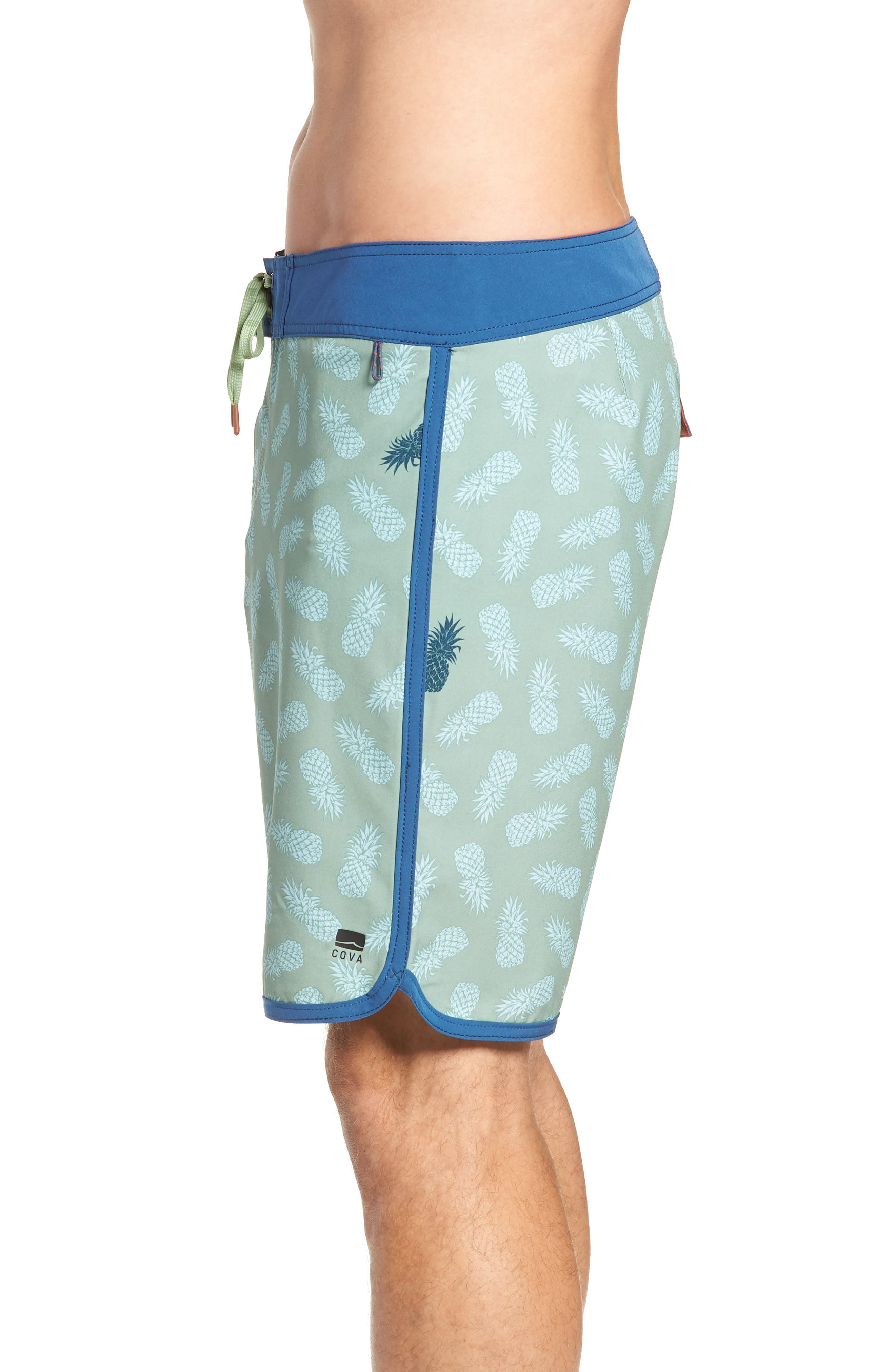 Colada Regular Fit Board Shorts,                             Alternate thumbnail 3, color,                             BASIL GREEN