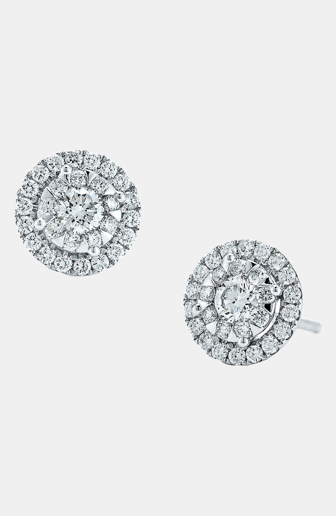 'Sunburst' Diamond Stud Earrings,                             Main thumbnail 1, color,                             WHITE GOLD