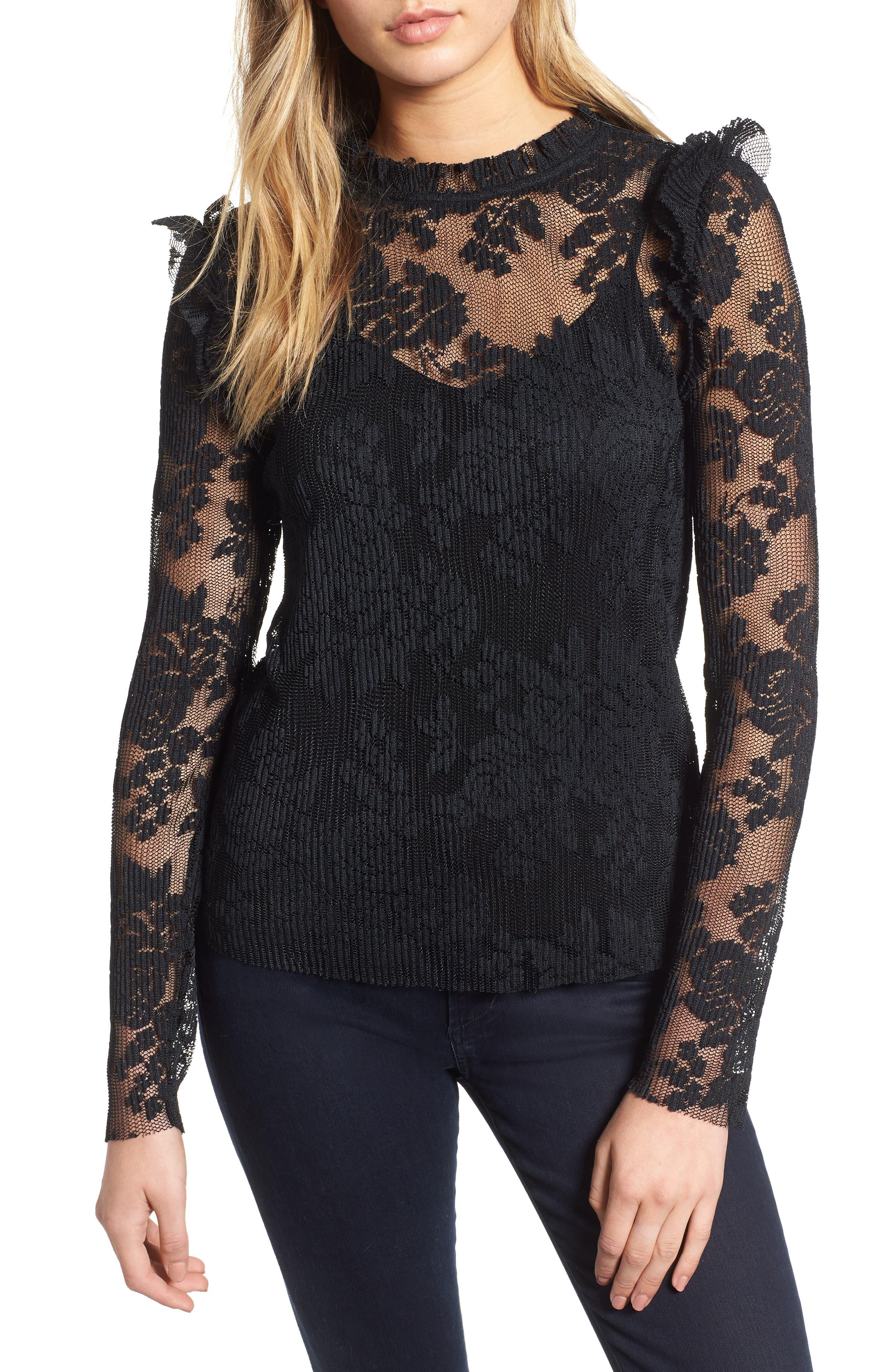 Sheer Lace Top,                         Main,                         color, BLACK
