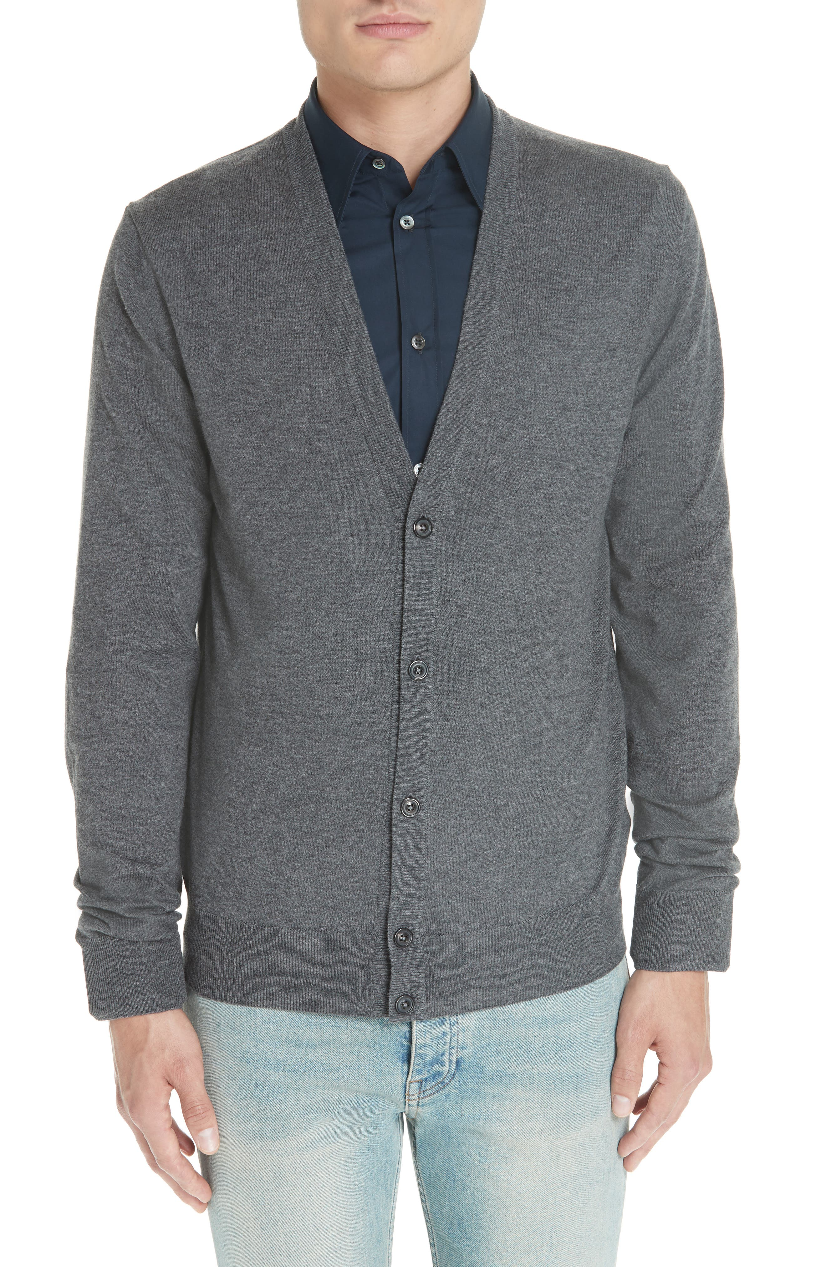 Maison Margiela Wool & Cotton Cardigan, Grey